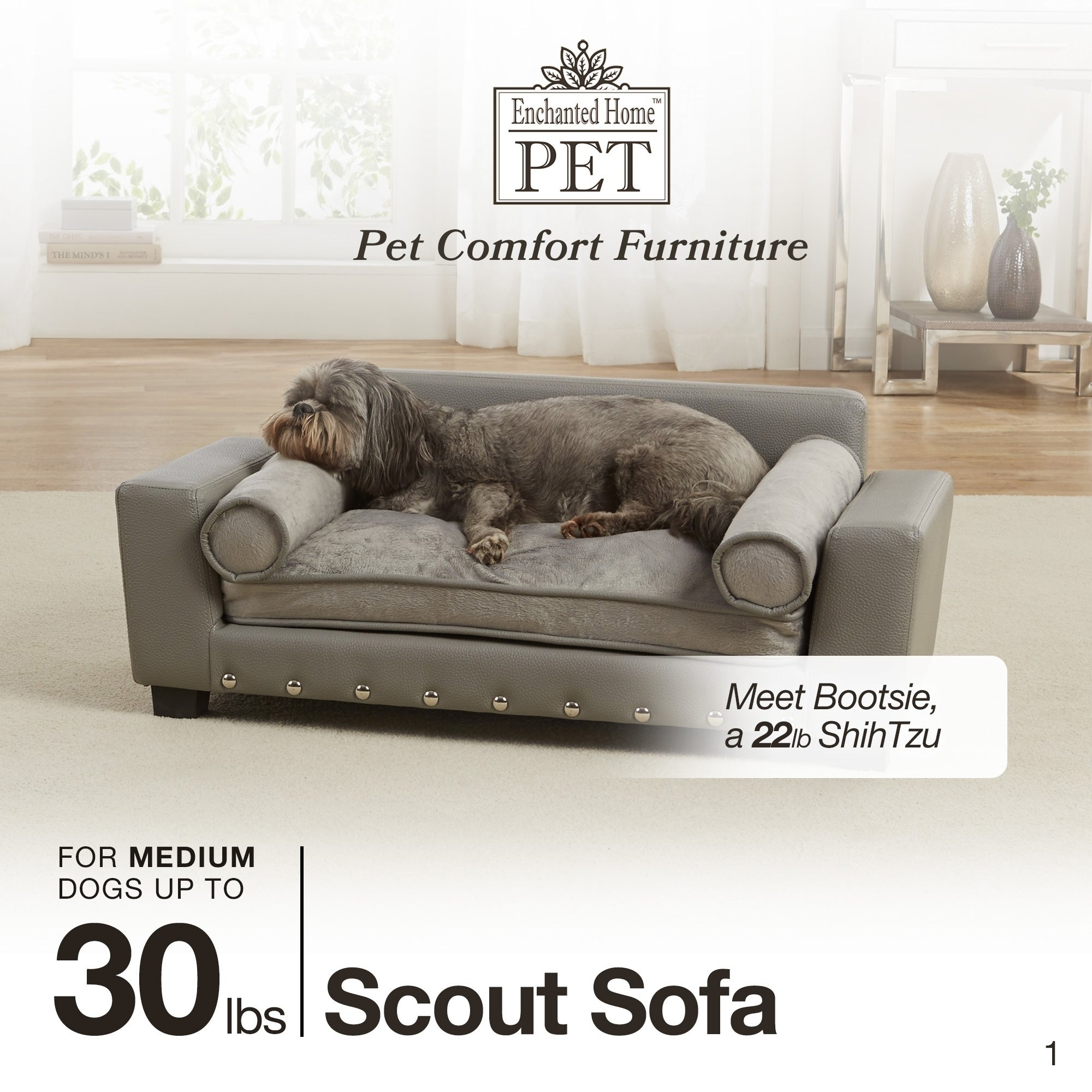 Shop Enchanted Home Pet Scout Grey Faux Leather Pet Sofa Bed - Free ...