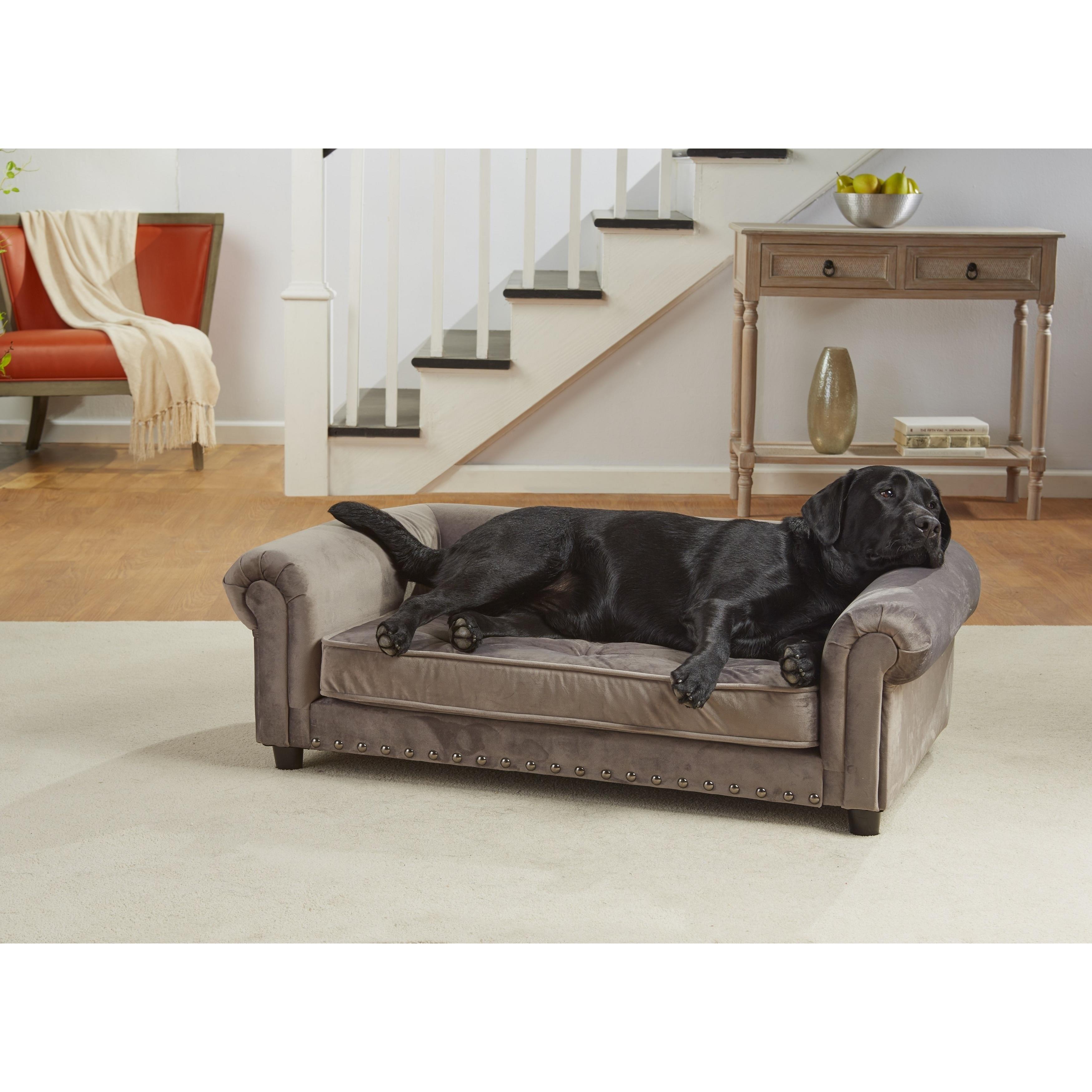 shop enchanted home pet manchester brown velvet pet sofa bed ships rh overstock ca pet sofa bed grey pet sofa bed grey