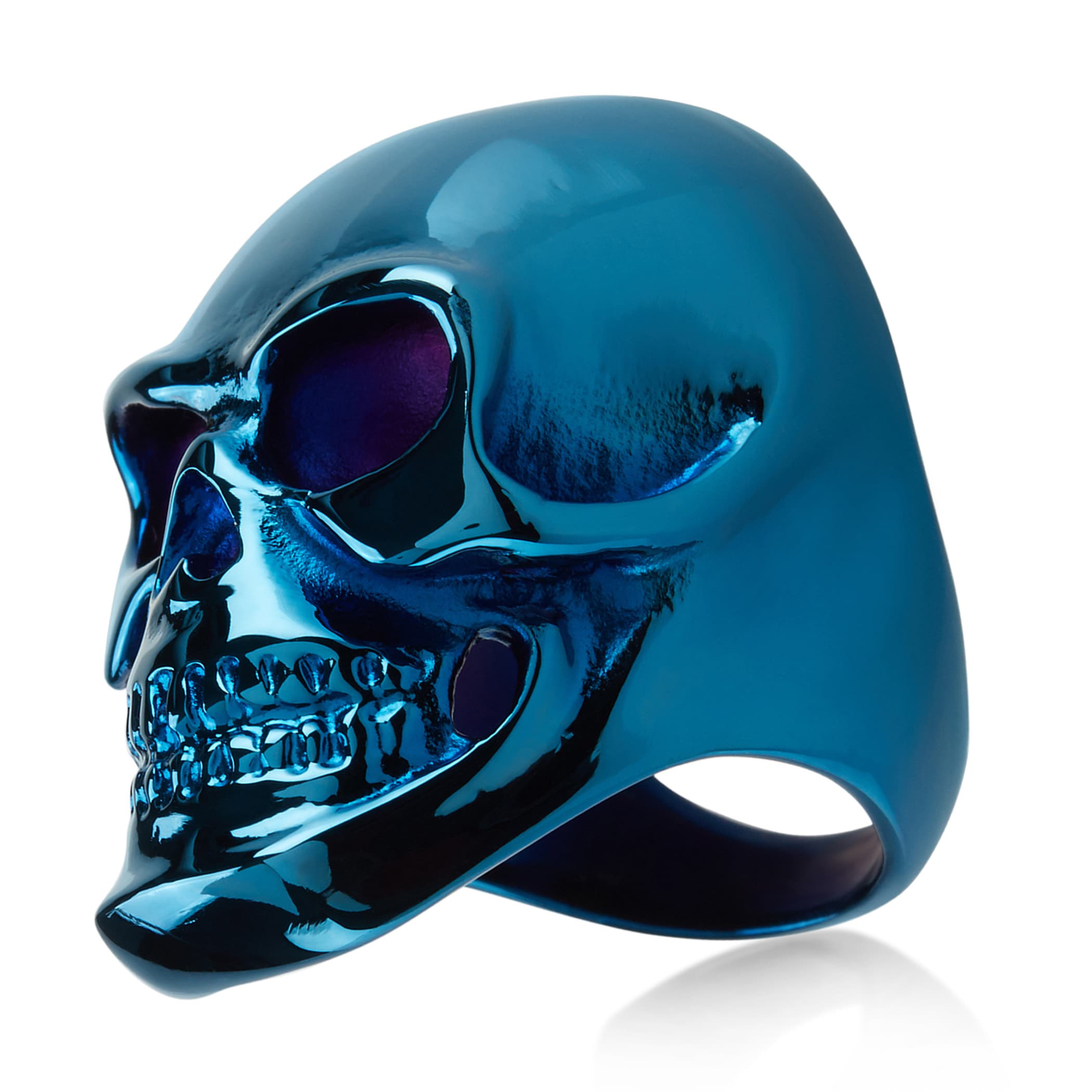 Shop Crucible Men\'s Blue Plated Polished Stainless Steel Skull Ring ...