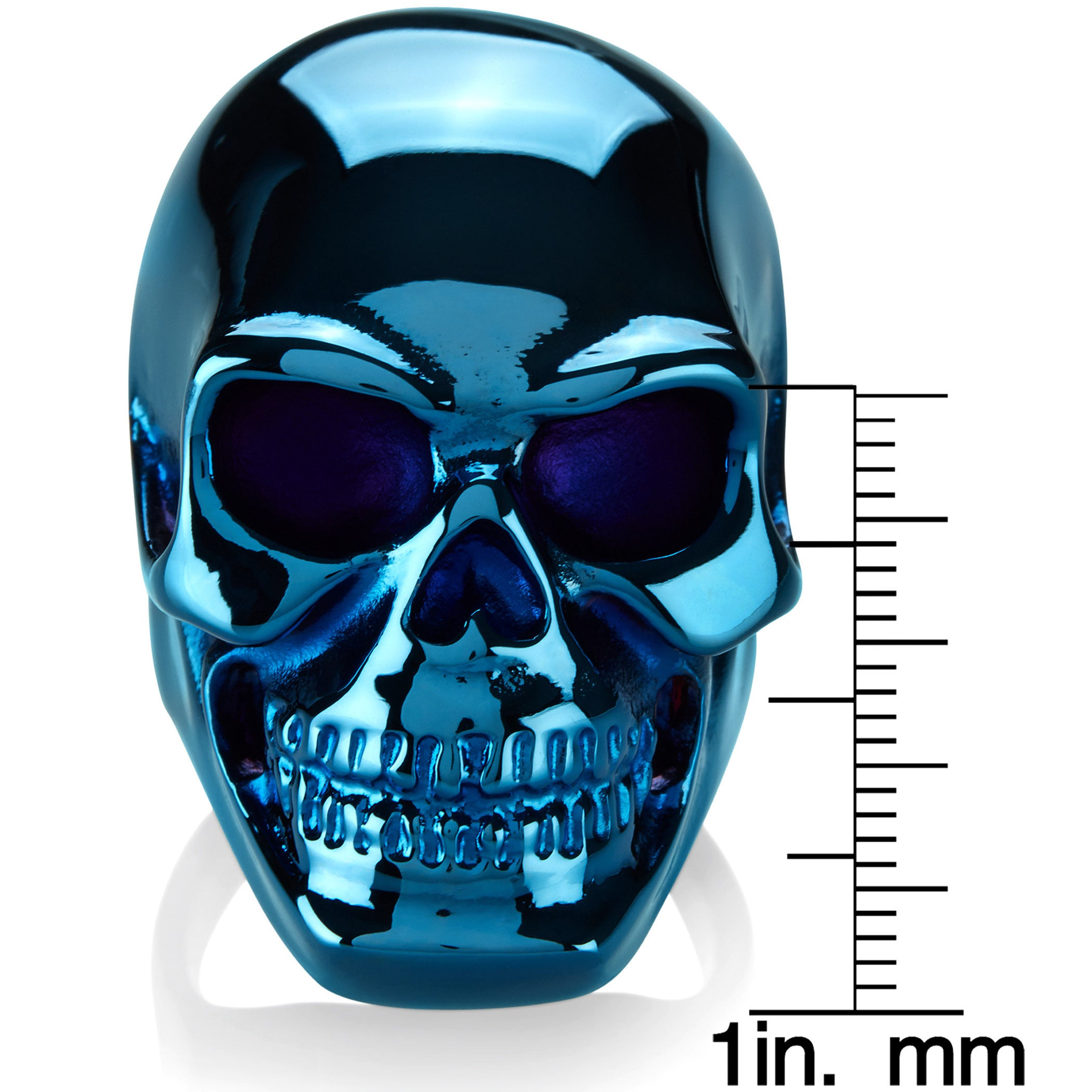 Crucible Men\'s Blue Plated Polished Stainless Steel Skull Ring ...