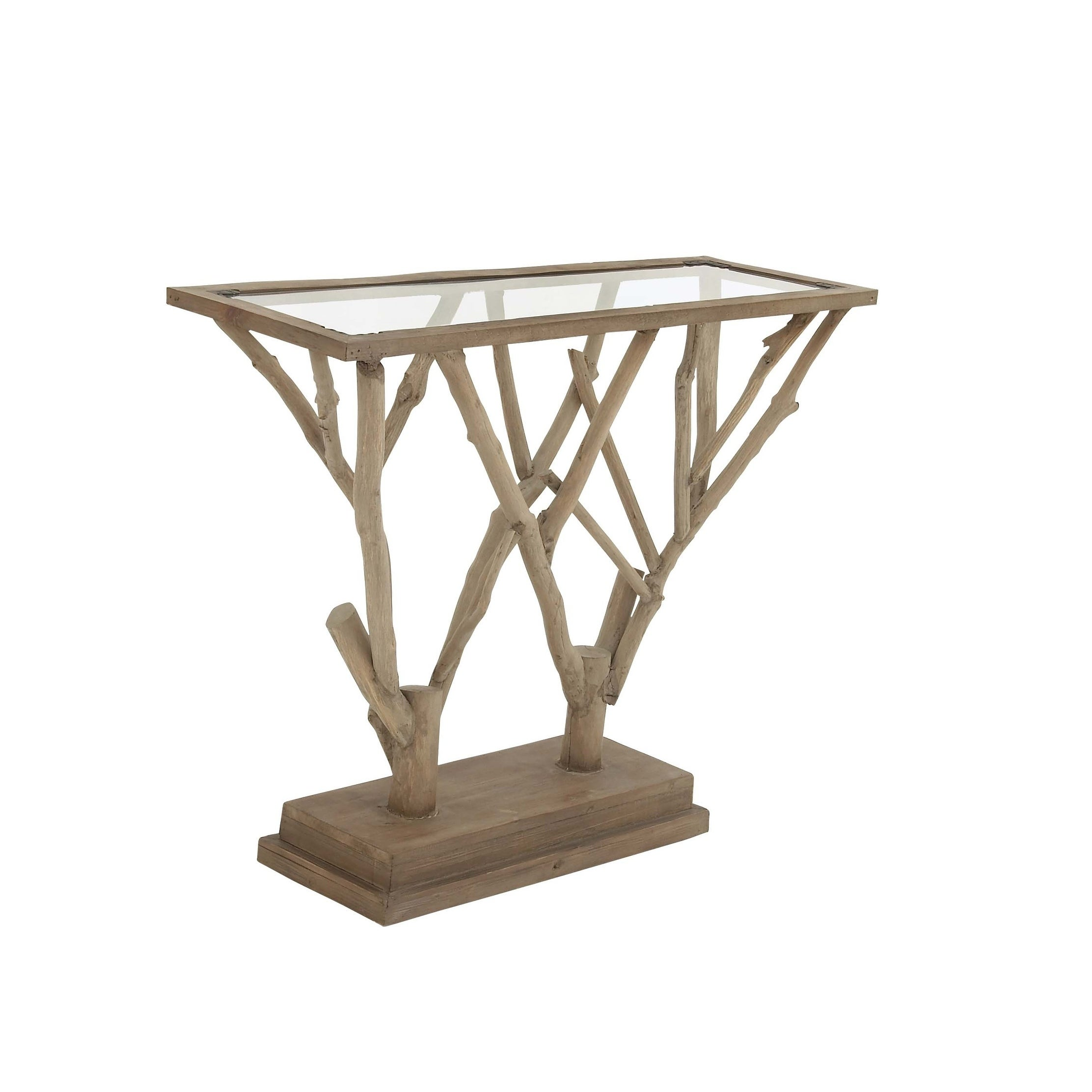 Natural 36 X 45 Inch Branch Design Wooden Console Table By Studio 350 Free Shipping Today 12218901