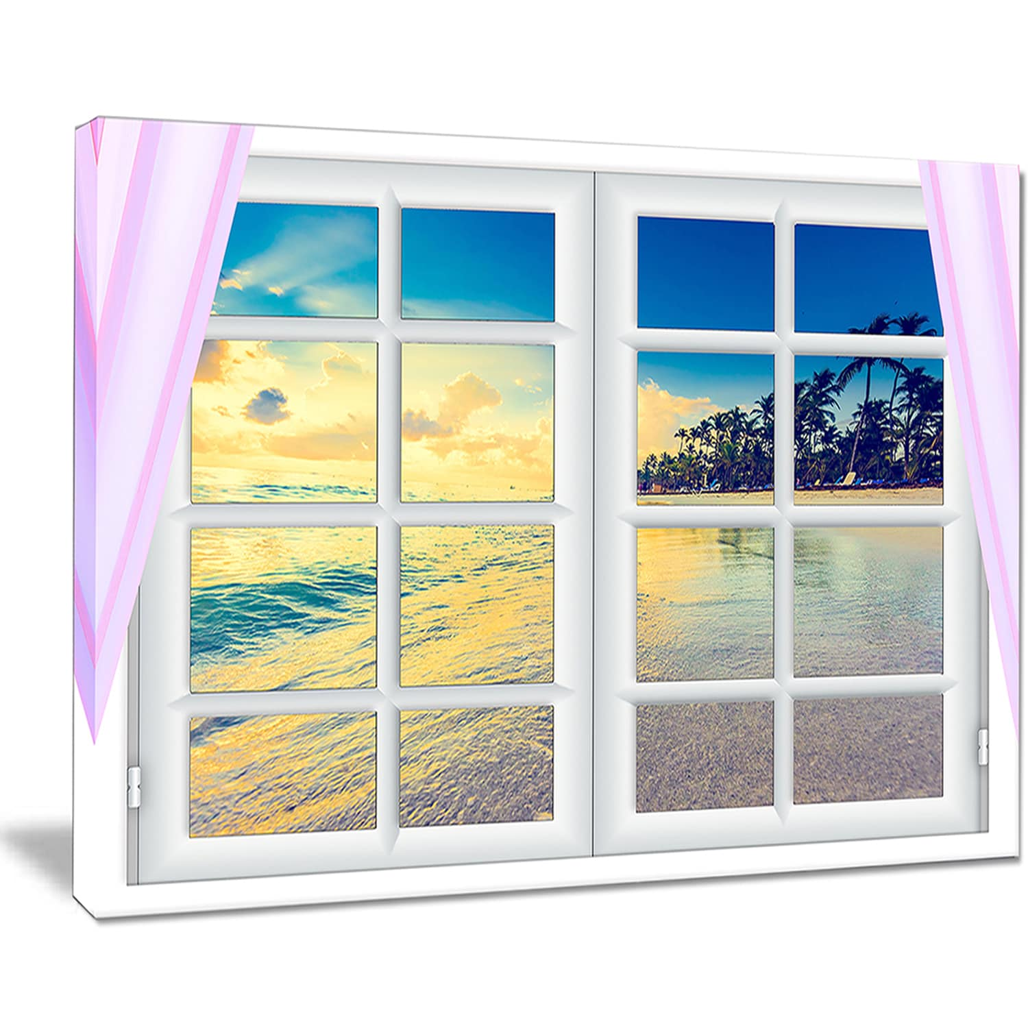 Closed Window to Ocean Sunset - Oversized Landscape Wall Art Print ...