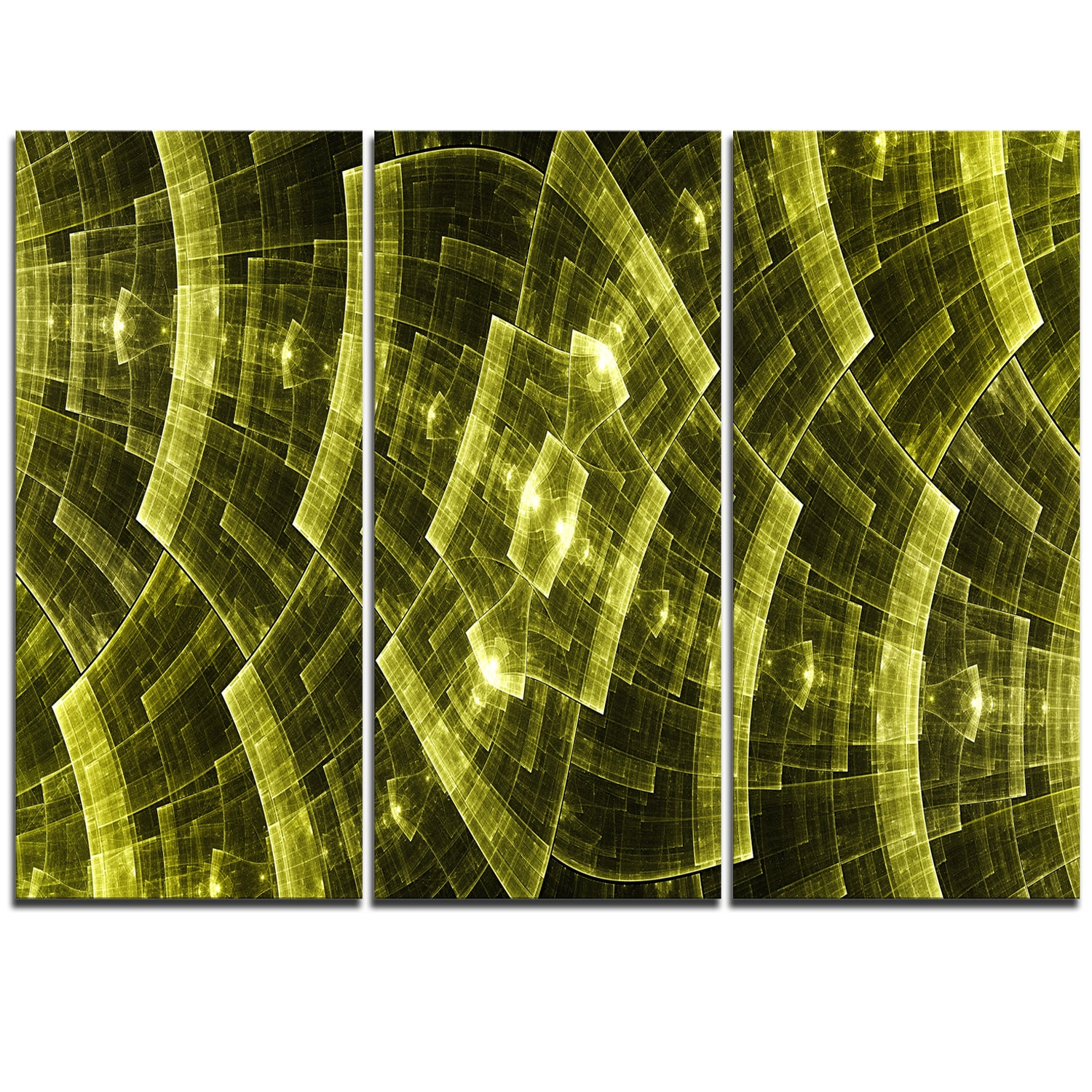 Shop Bright Yellow Fractal Flower Grid - Abstract Art on Canvas ...