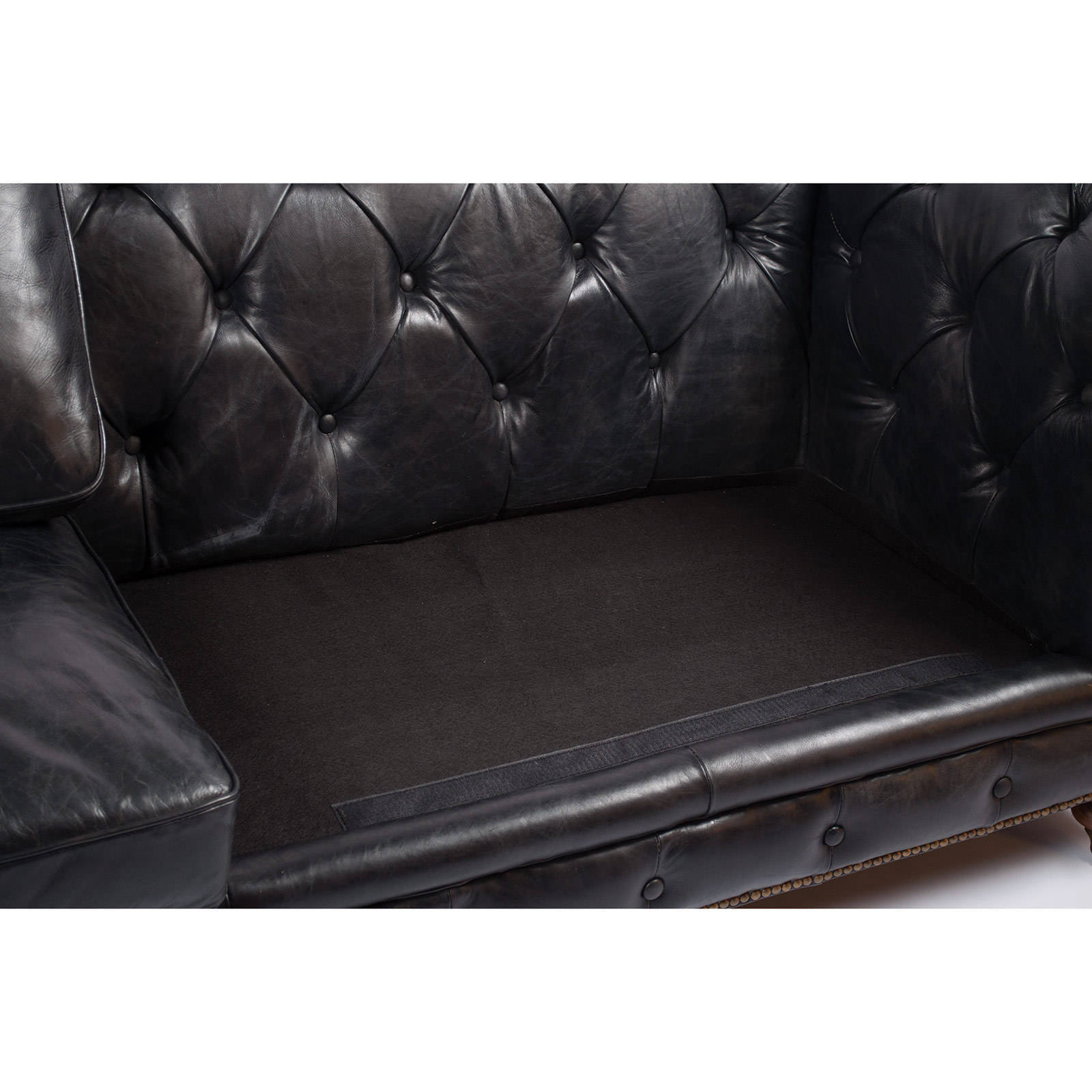 Shop Genuine Antique Black Leather Chesterfield Sofa   Free Shipping Today    Overstock.com   12222754