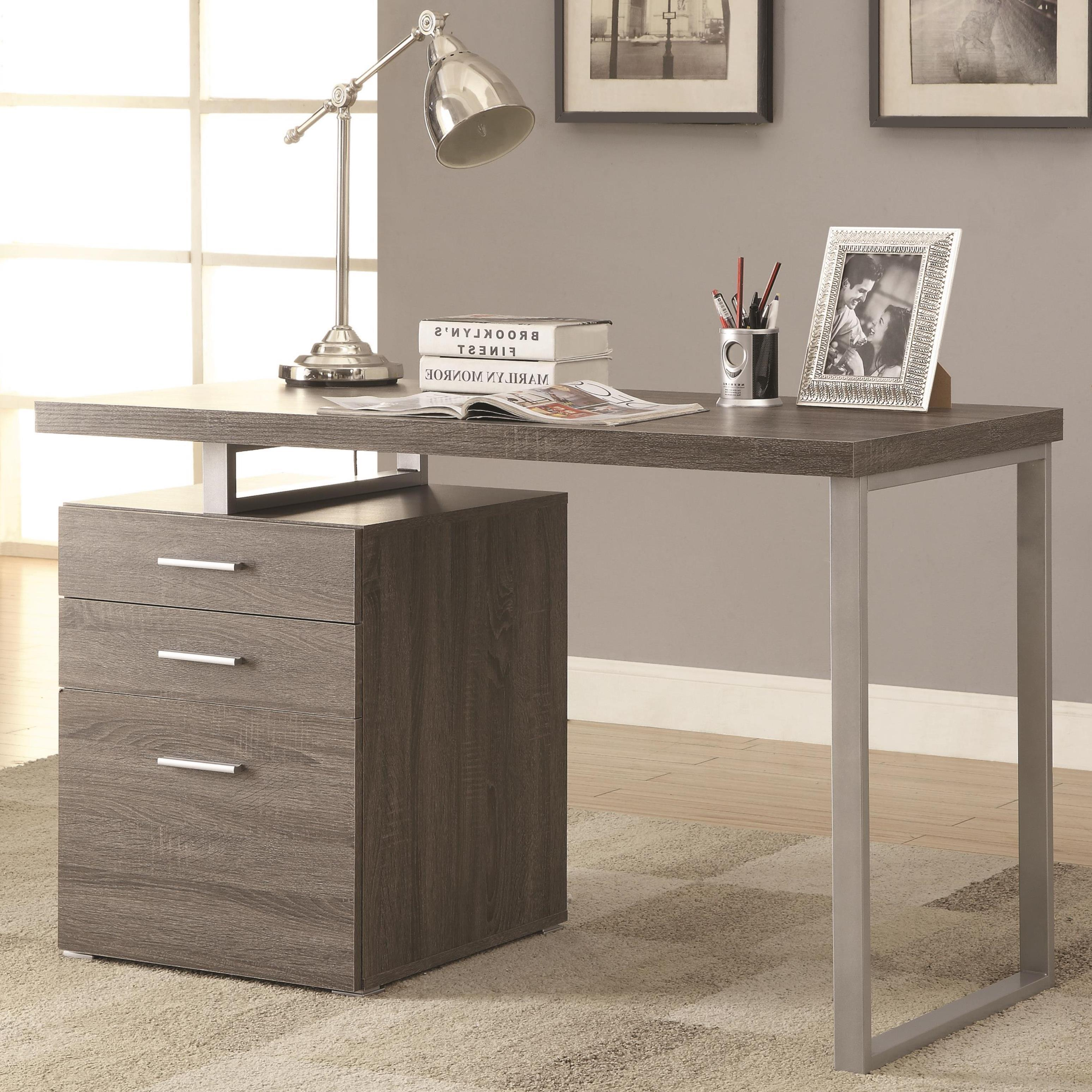 Charmant Shop Modern Design Home Office Weathered Grey Writing/ Computer Desk With  Drawers And File Cabinet   Free Shipping Today   Overstock.com   12222868