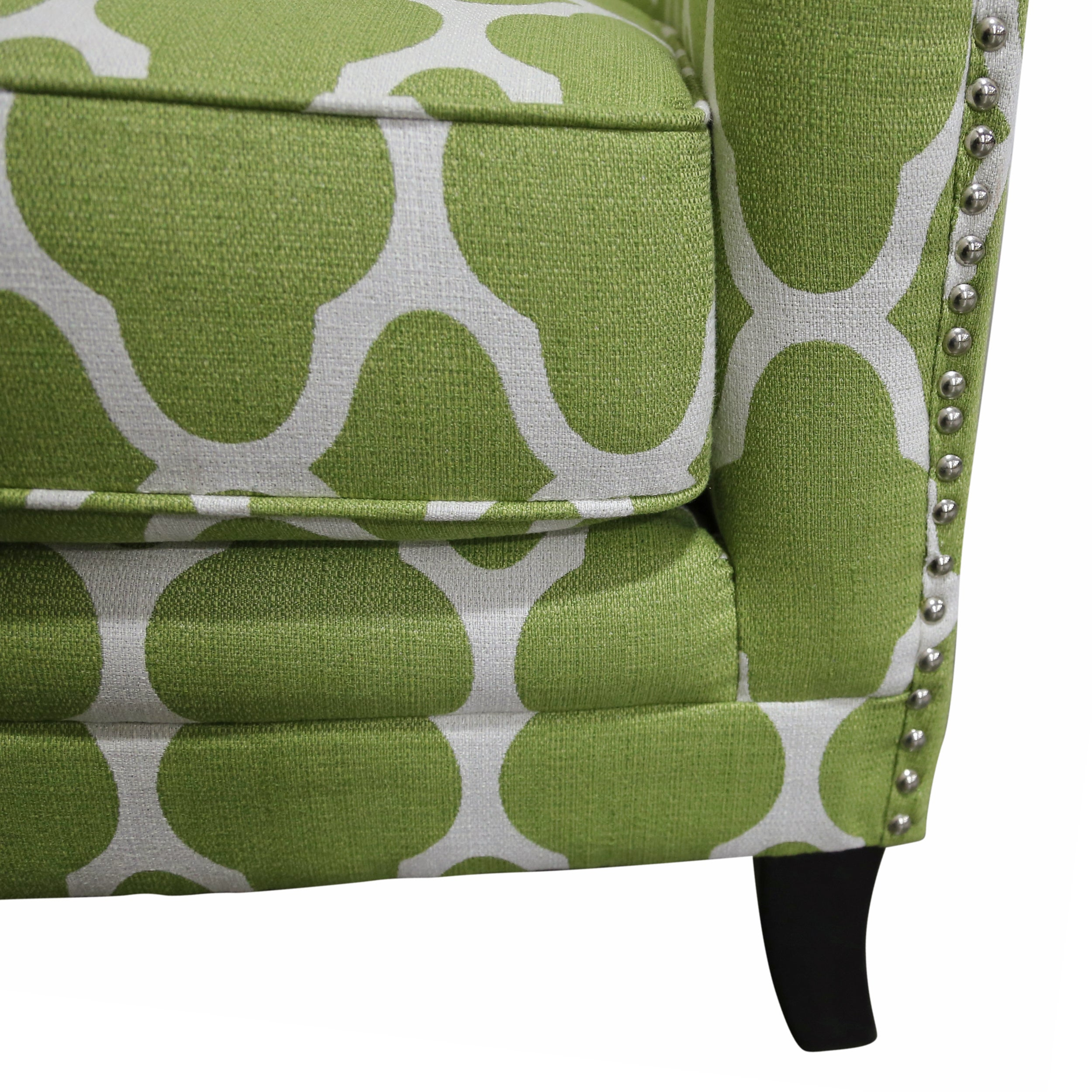 Shop Porter Cassie Apple Green And White Arabesque Accent Chair With  Nailhead Trim   Free Shipping Today   Overstock.com   12223215