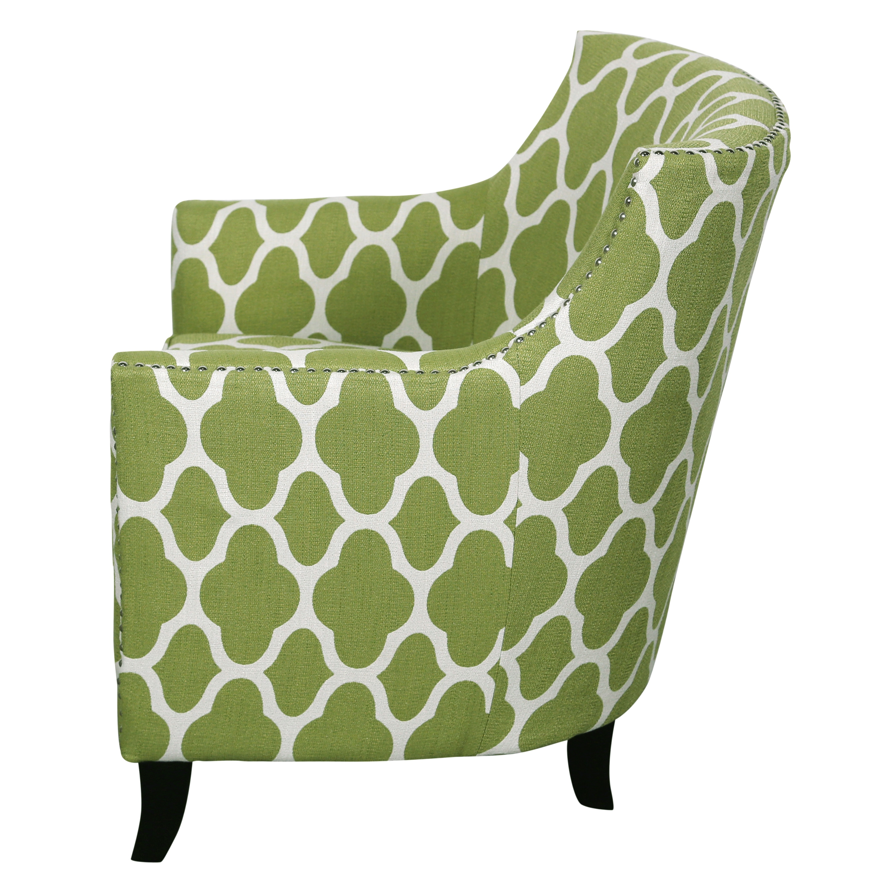 Porter Cassie Apple Green And White Arabesque Accent Chair With Nailhead  Trim   Free Shipping Today   Overstock   19068072