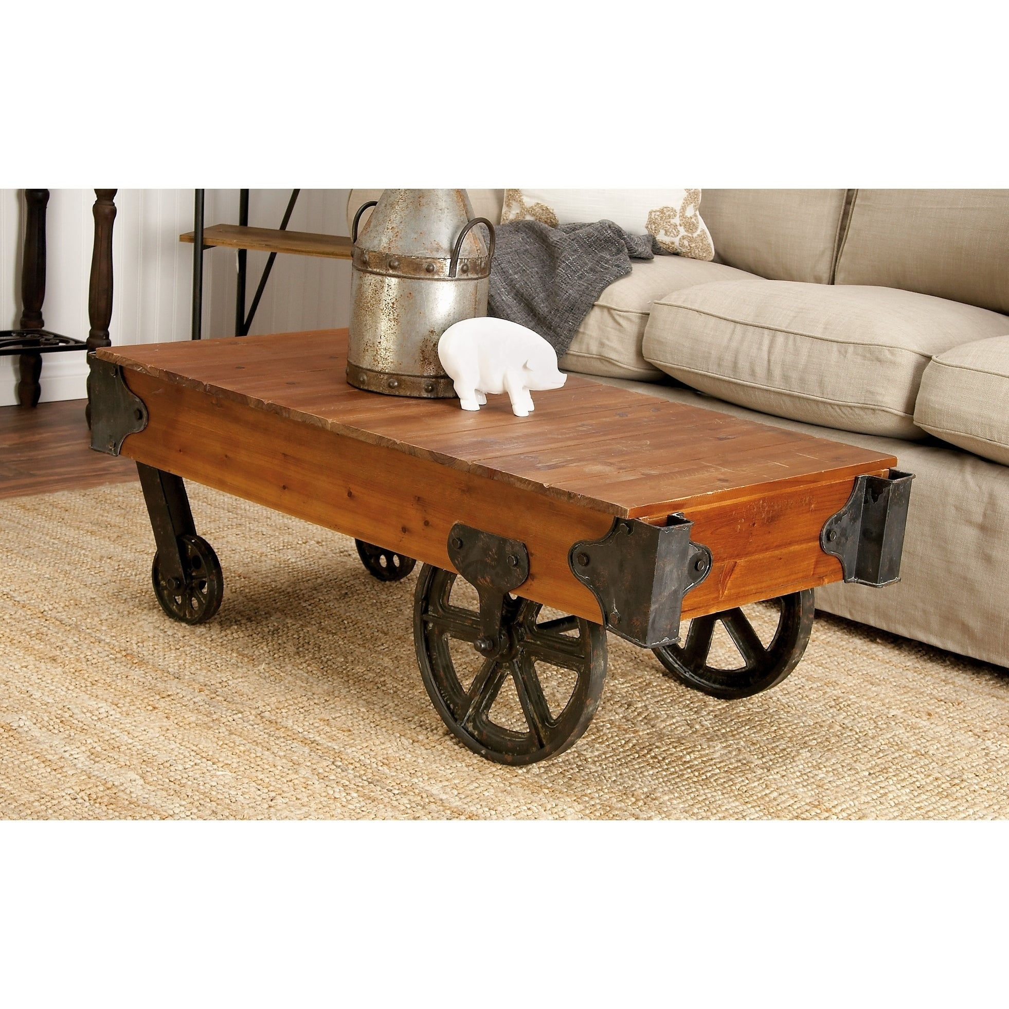 45 X 16 Metal And Wood Cart Coffee Table With Wheels By Studio 350 Free Shipping Today 12223589