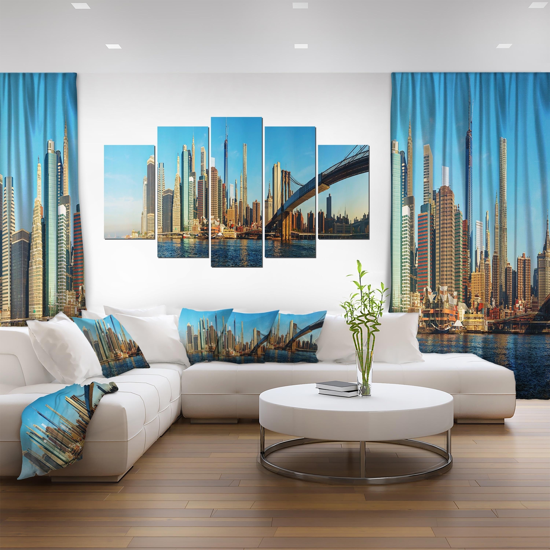 New York City with Brooklyn Bridge - Cityscape Canvas print - Multi ...