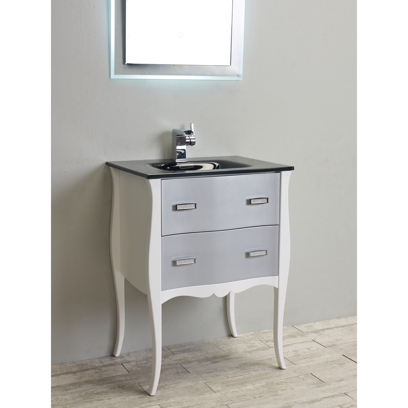 Shop Eviva Aranjuez 24-inch White and Silver Modern Bathroom Vanity ...