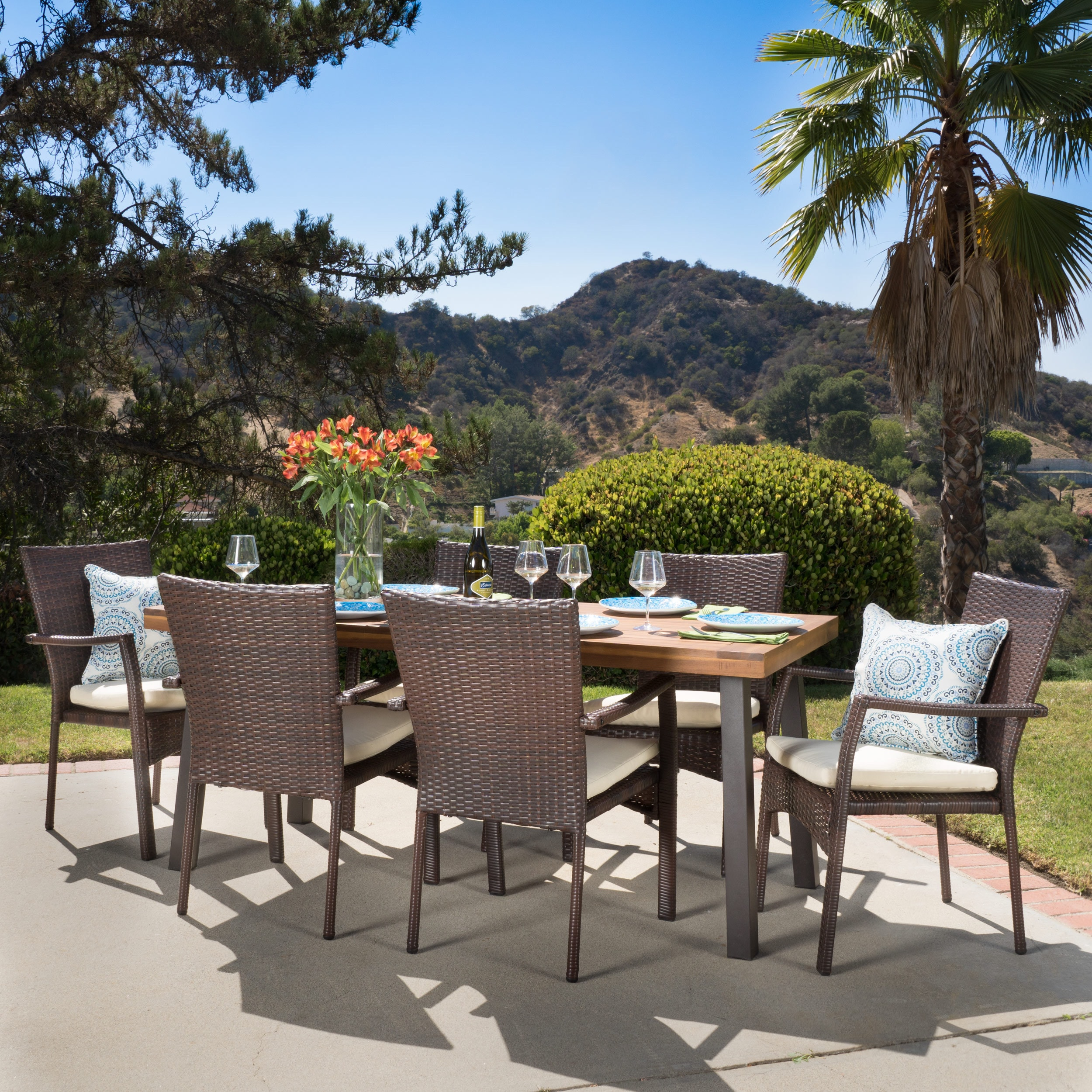 Cordella Outdoor 7 Piece Wood Dining Set With Cushions By Christopher  Knight Home   Free Shipping Today   Overstock   19073643