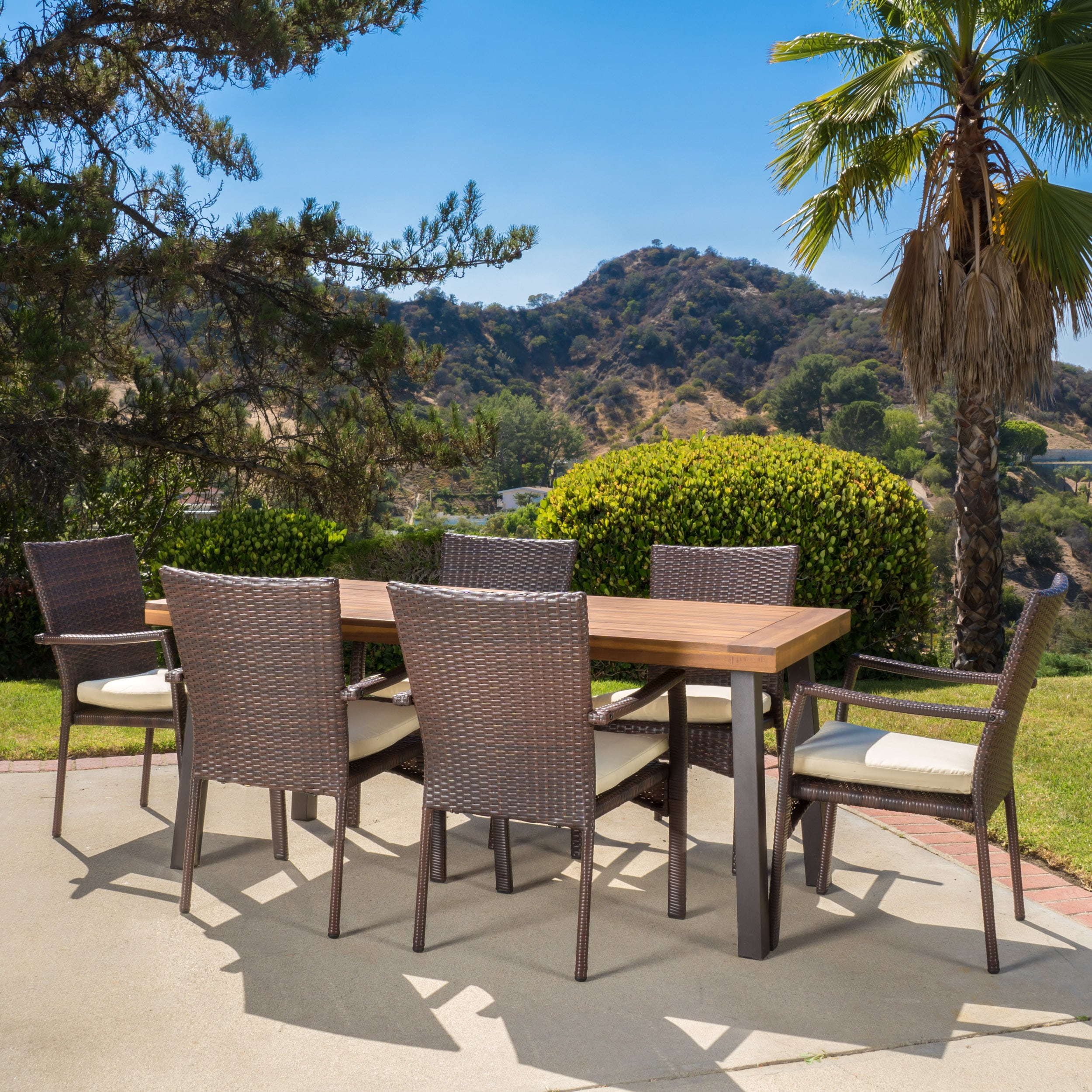 Exceptionnel Shop Cordella Outdoor 7 Piece Wood Dining Set With Cushions By Christopher  Knight Home   On Sale   Free Shipping Today   Overstock.com   12229492