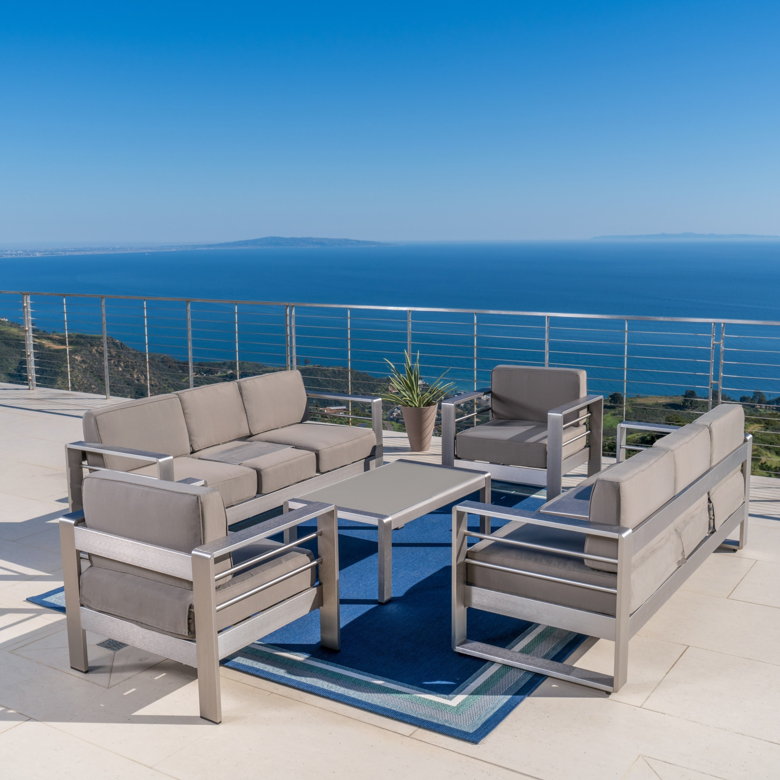 Furniture Cape Coral cape coral outdoor aluminum 5 sofa set with cushions by