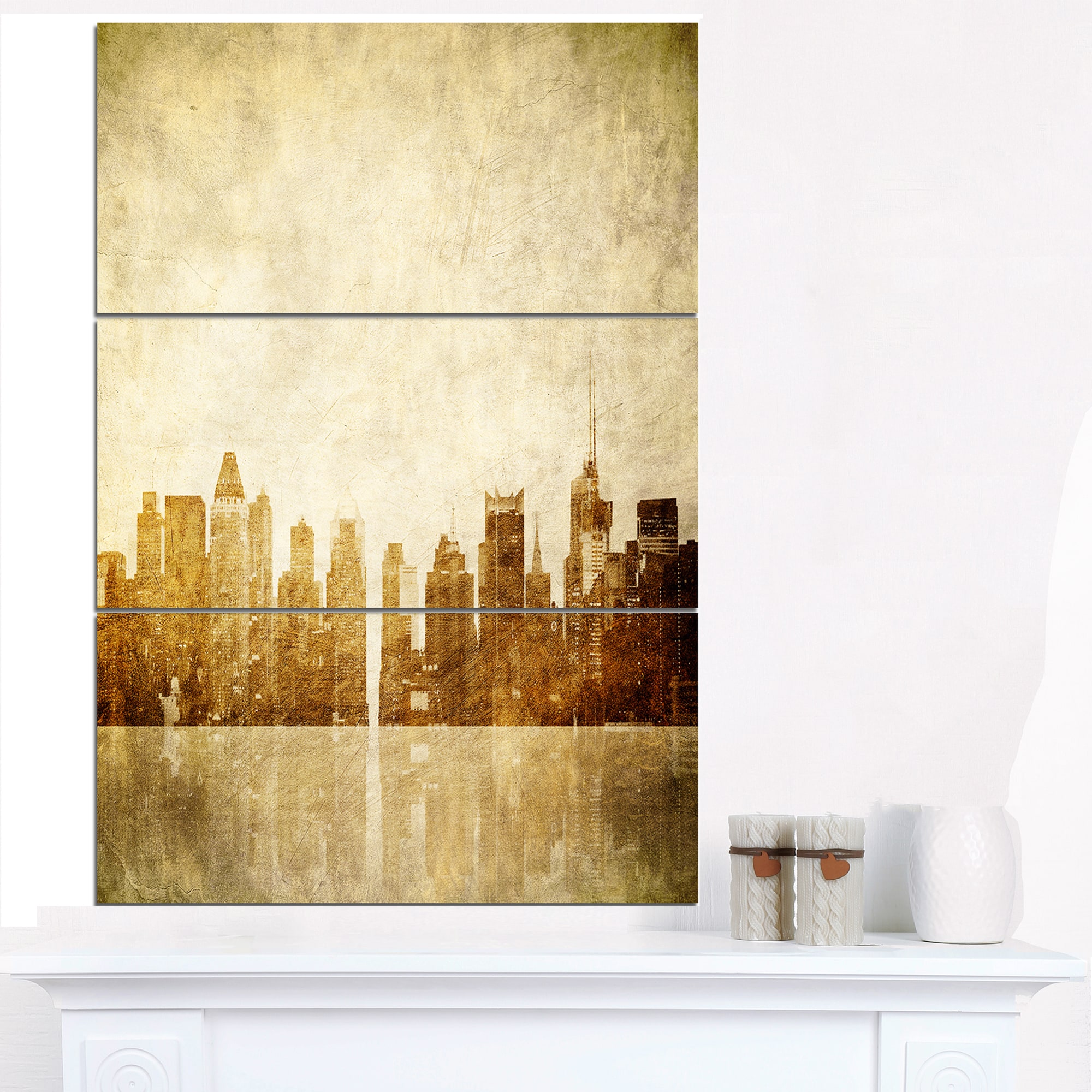 New York Skyline Grunge View - Cityscape Canvas print - Black - Free ...