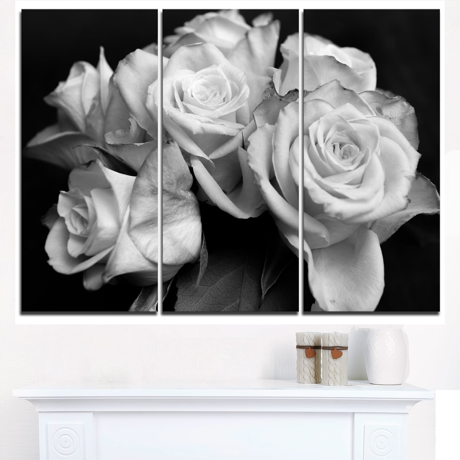 Shop Bunch Of Roses Black And White Floral Canvas Art Print Free