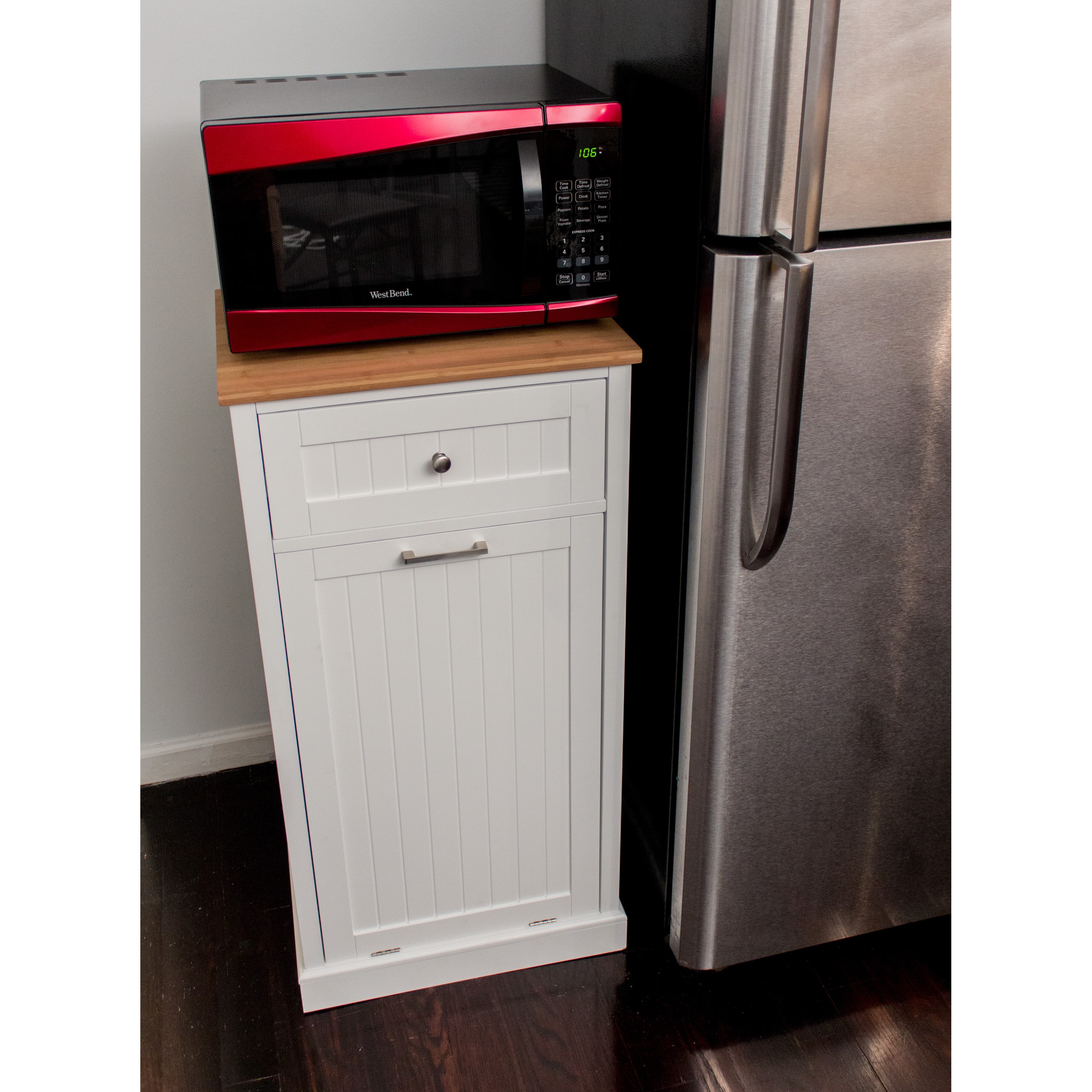 Shop white wooden microwave kitchen cart with hideaway trash can holder free shipping today overstock com 12235343