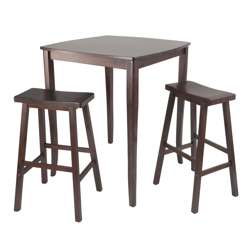 Shop 3 pc inglewood high pub dining table with saddle stool free shipping today overstock com 12235389