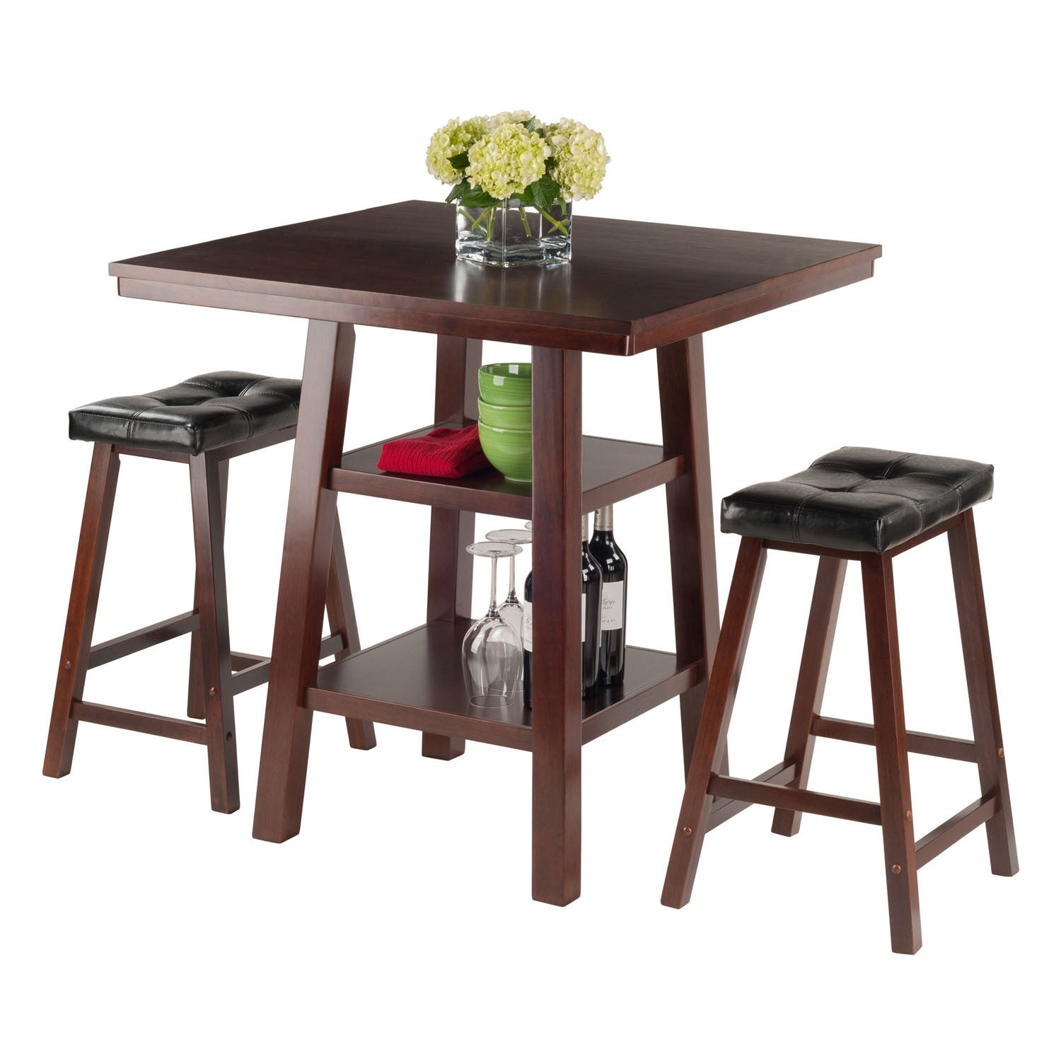 Shop Winsome Orlando 3 Piece Dining Table Set With 2 Saddle Seat Stools