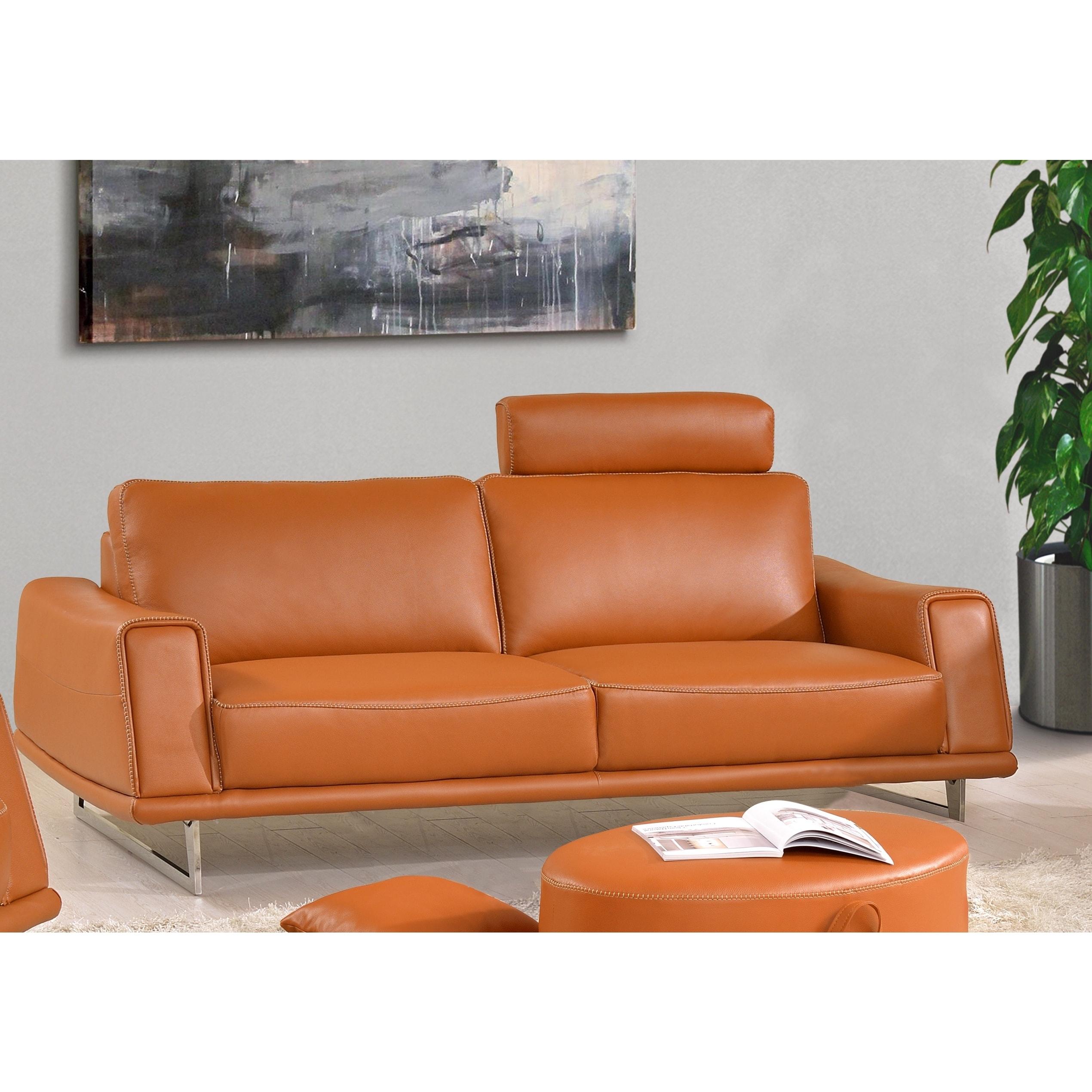 Luca Home Sofa Split Leather Orange Free Shipping Today 12237631