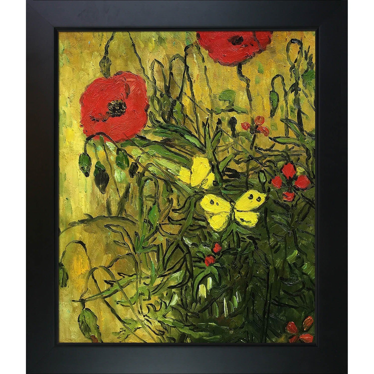 Vincent Van Gogh \'Poppies and Butterflies\' Hand Painted Framed Canvas Art