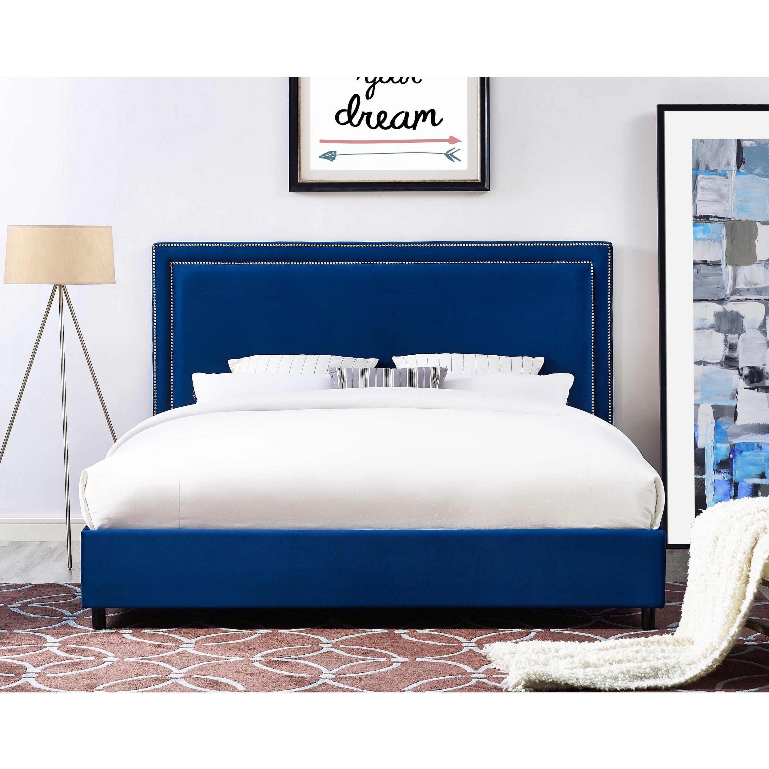 Reed Navy Blue Velvet Upholsterd Bed
