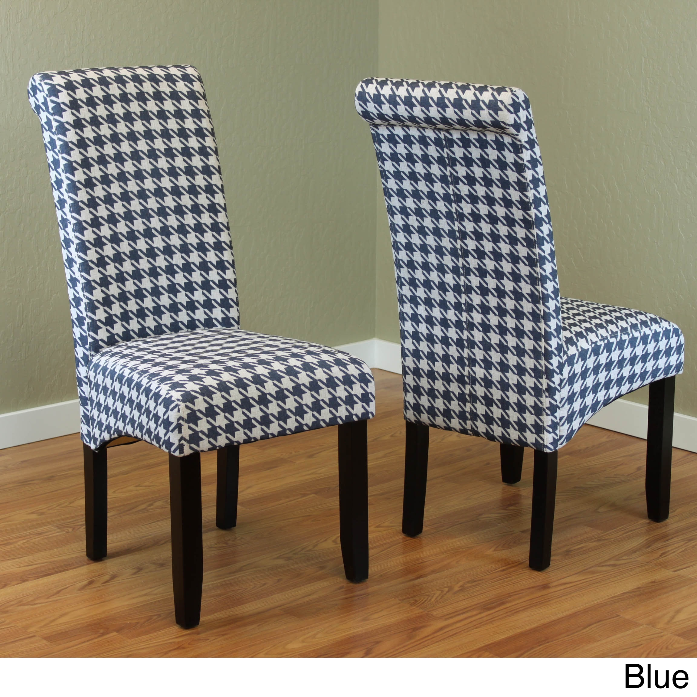 Milan Wood And Linen Houndstooth Dining Chairs Set Of 2 Free Shipping Today 19088810