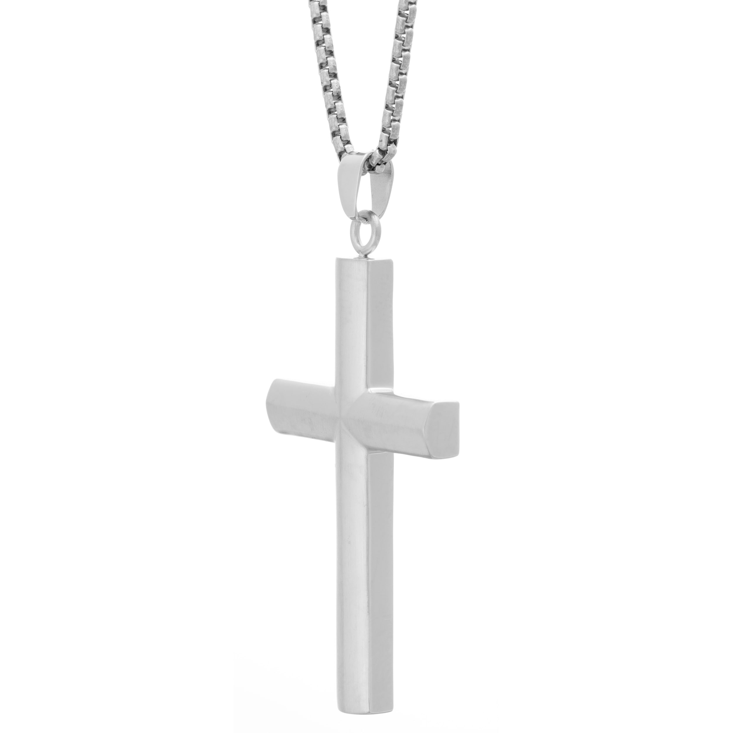 1d2a34bdad4 Shop Stainless Steel Men s Cross Pendant Necklace - On Sale - Free Shipping  On Orders Over  45 - Overstock - 12251043