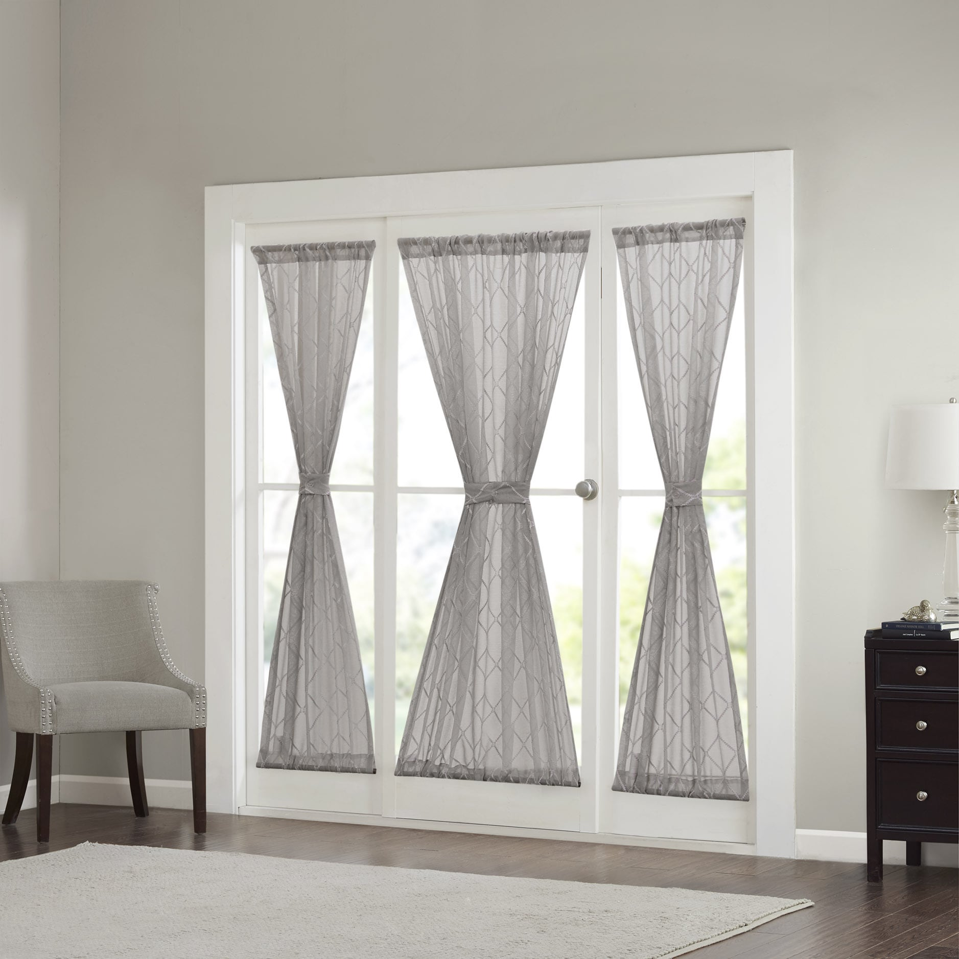 Madison Park Warner Iris Diamond Sheer Sidelight Curtain Panel   Free  Shipping On Orders Over $45   Overstock.com   19093221