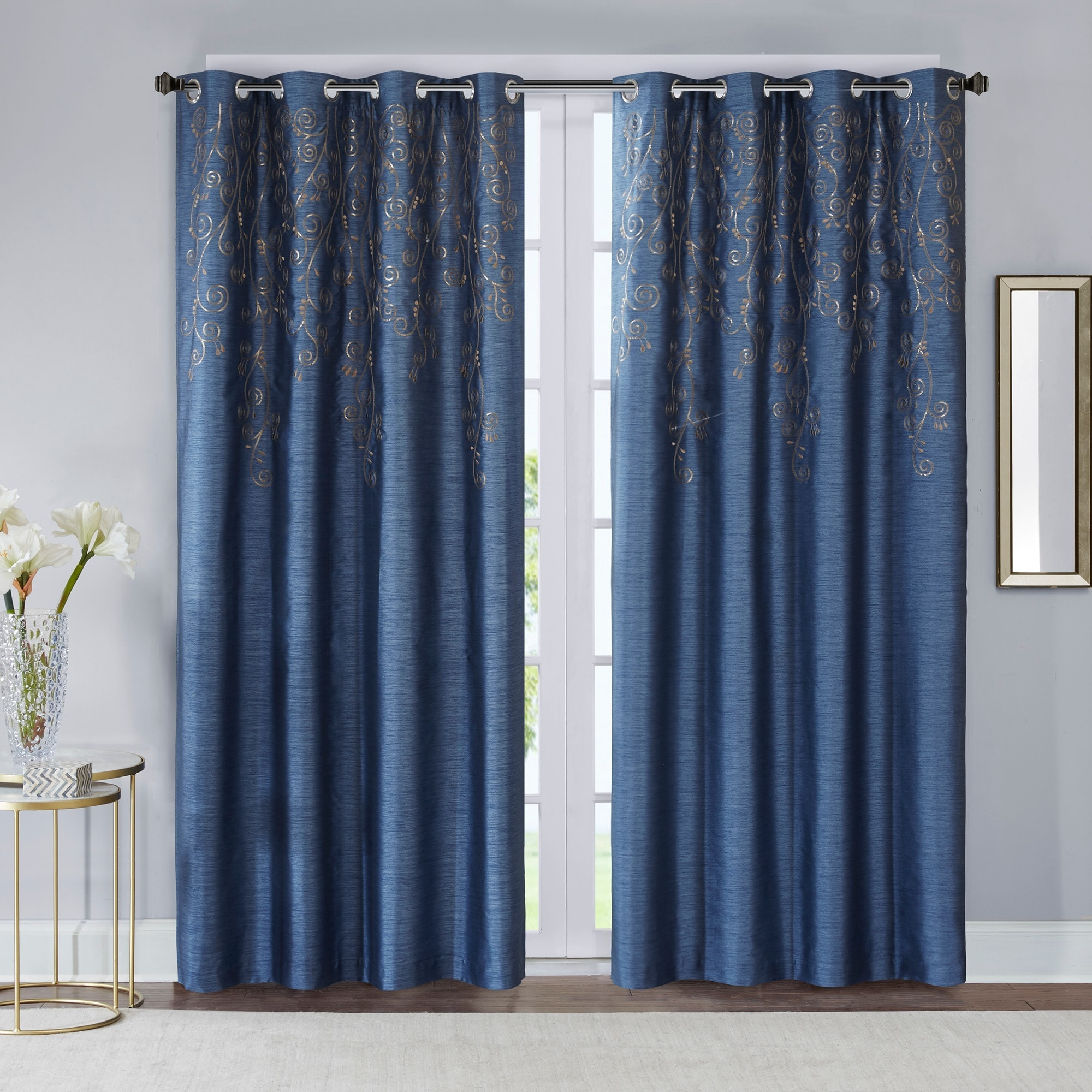 Shop Madison Park Evelyn Sequined Embroidered Window Curtain Panel ...