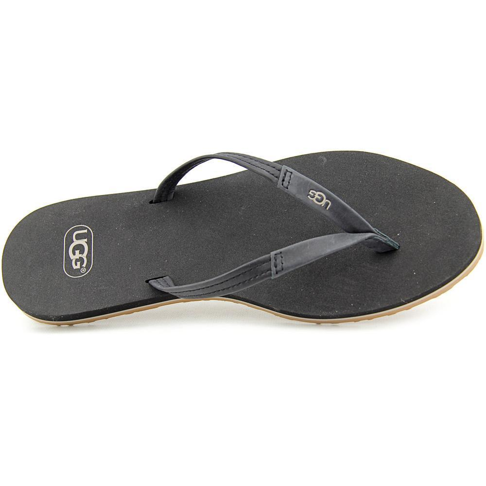 c8053ae0e07123 Shop Ugg Australia Women s  Magnolia  Black Leather Sandals - Free Shipping  Today - Overstock - 12252483