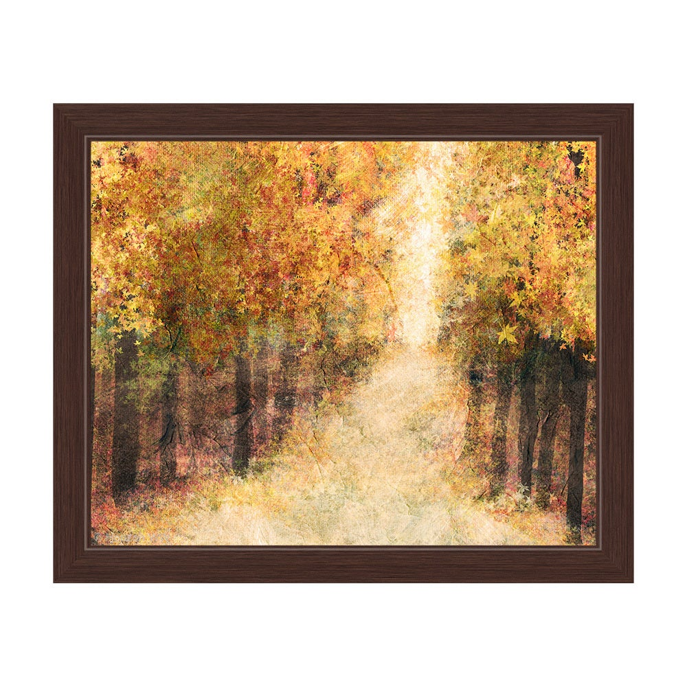 Shop Yellow Fall Forest\' Framed Graphic Wall Art - On Sale - Free ...