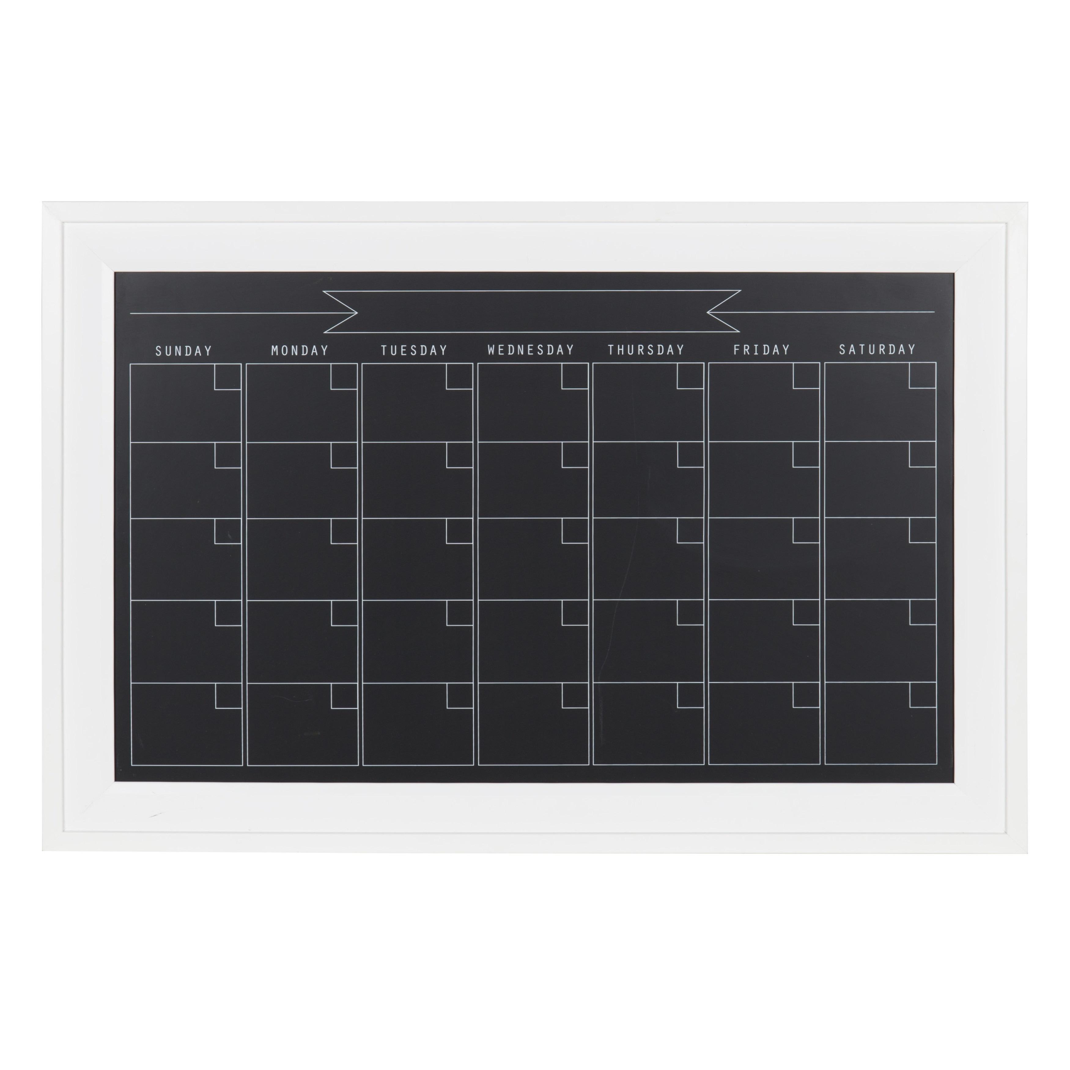 DesignOvation Bosc Framed Magnetic Chalkboard Monthly Calendar ...