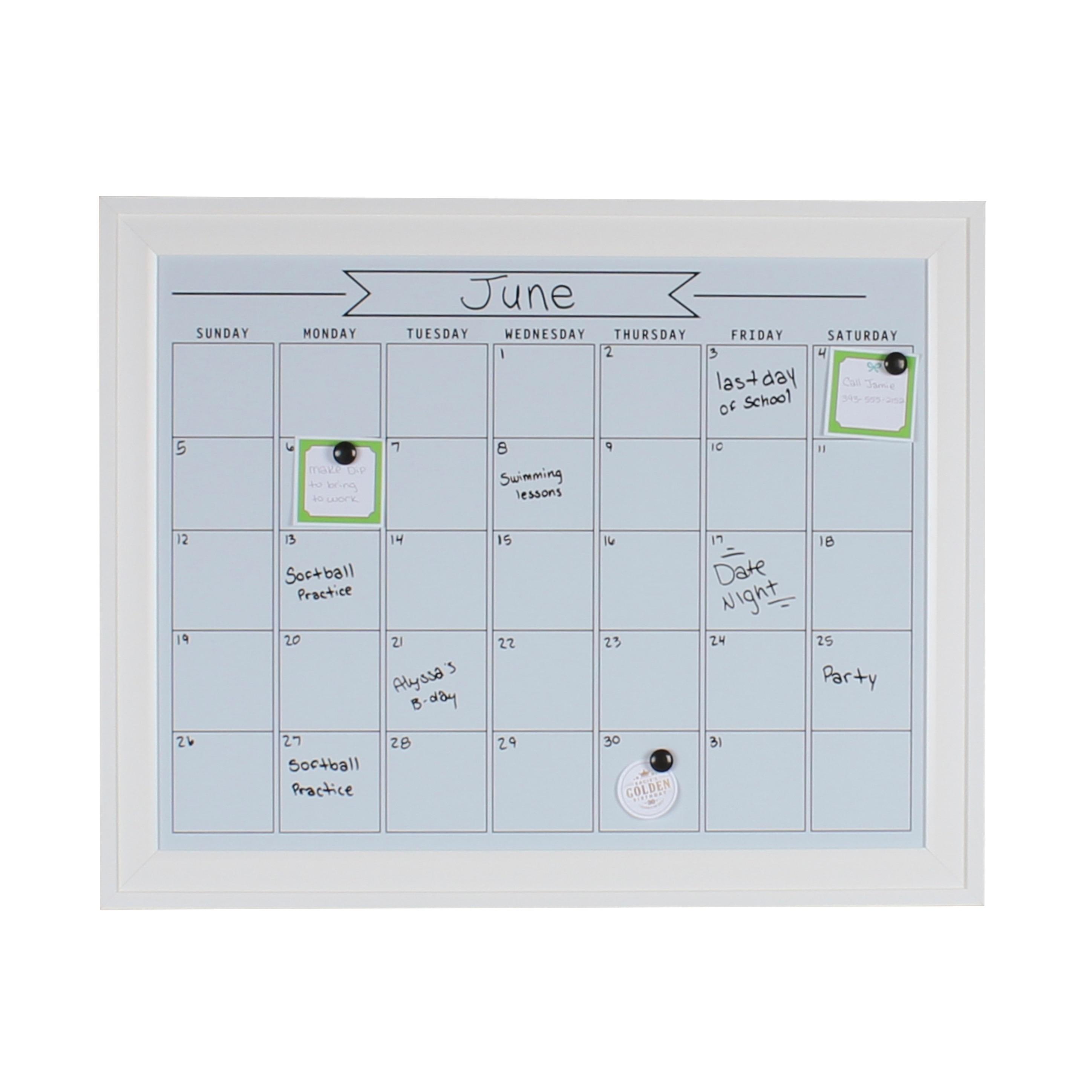 Shop DesignOvation Bosc Framed Magnetic Dry Erase Monthly Calendar ...