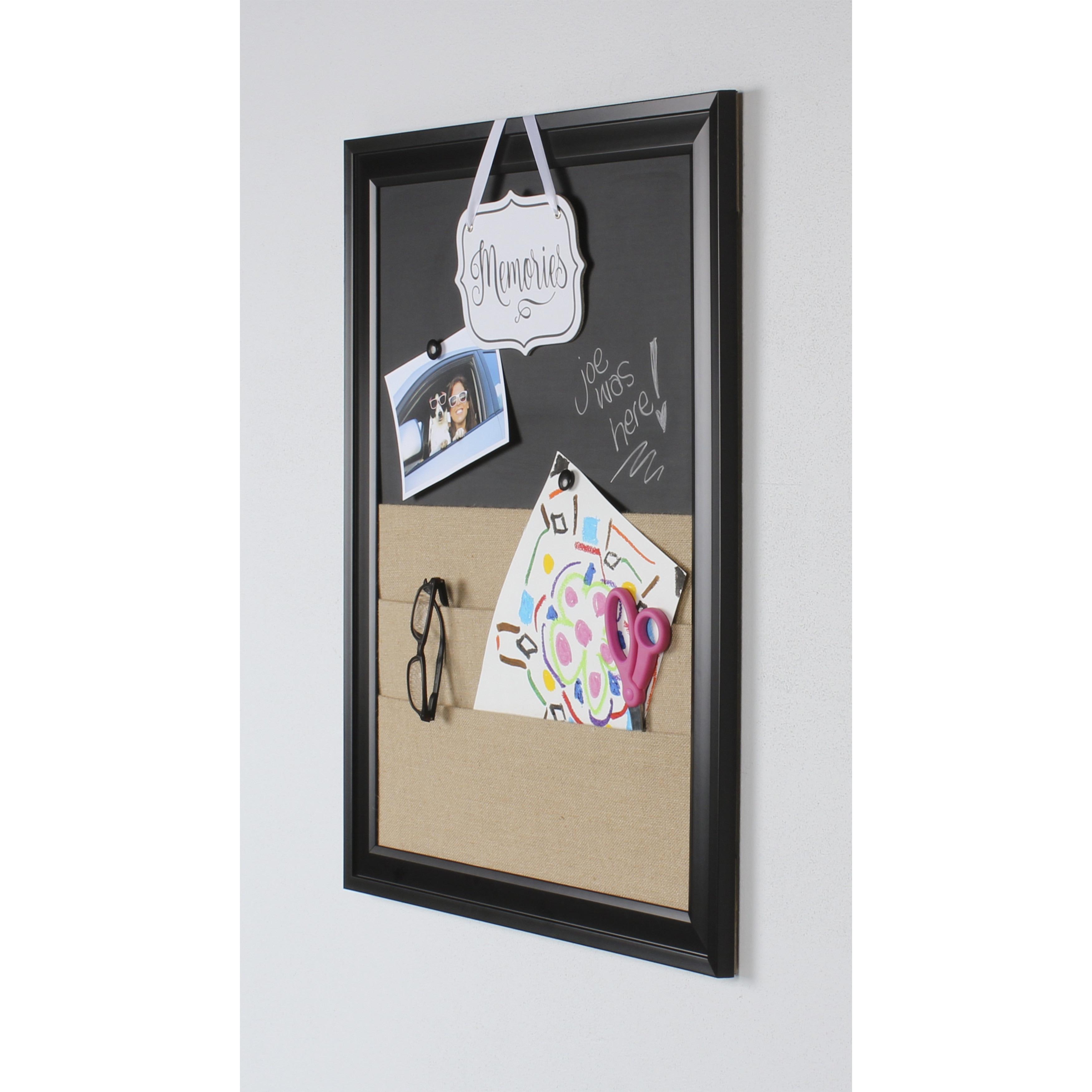 Shop Bosc Framed Combination Magnetic Chalkboard and Burlap Pockets ...