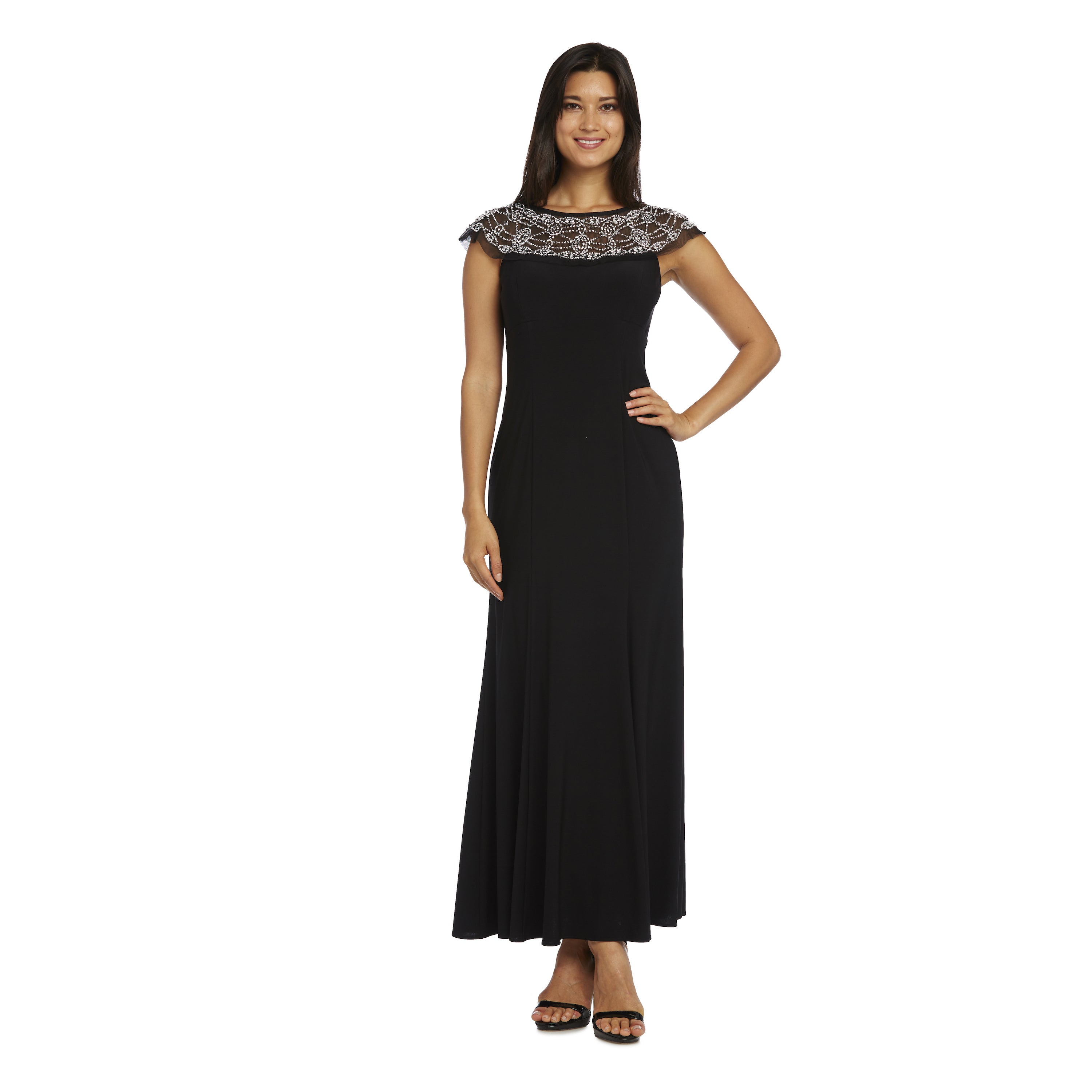 Shop R&M Richards Black Polyester-blended Beaded Gown - Free ...