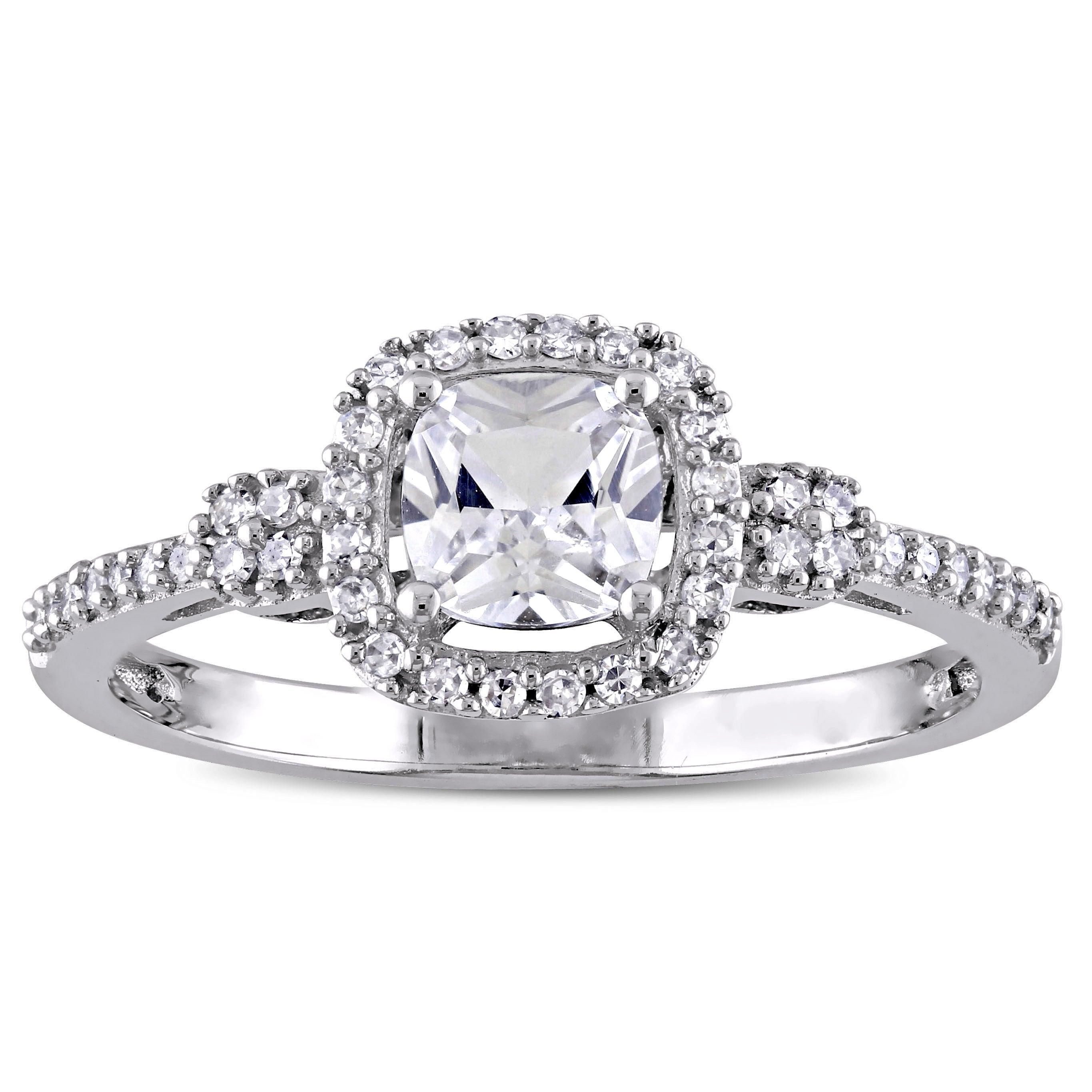 Miadora 10k White Gold Cushion Cut Created White Sapphire And 1 6ct Tdw Diamond Halo Engagement Ring
