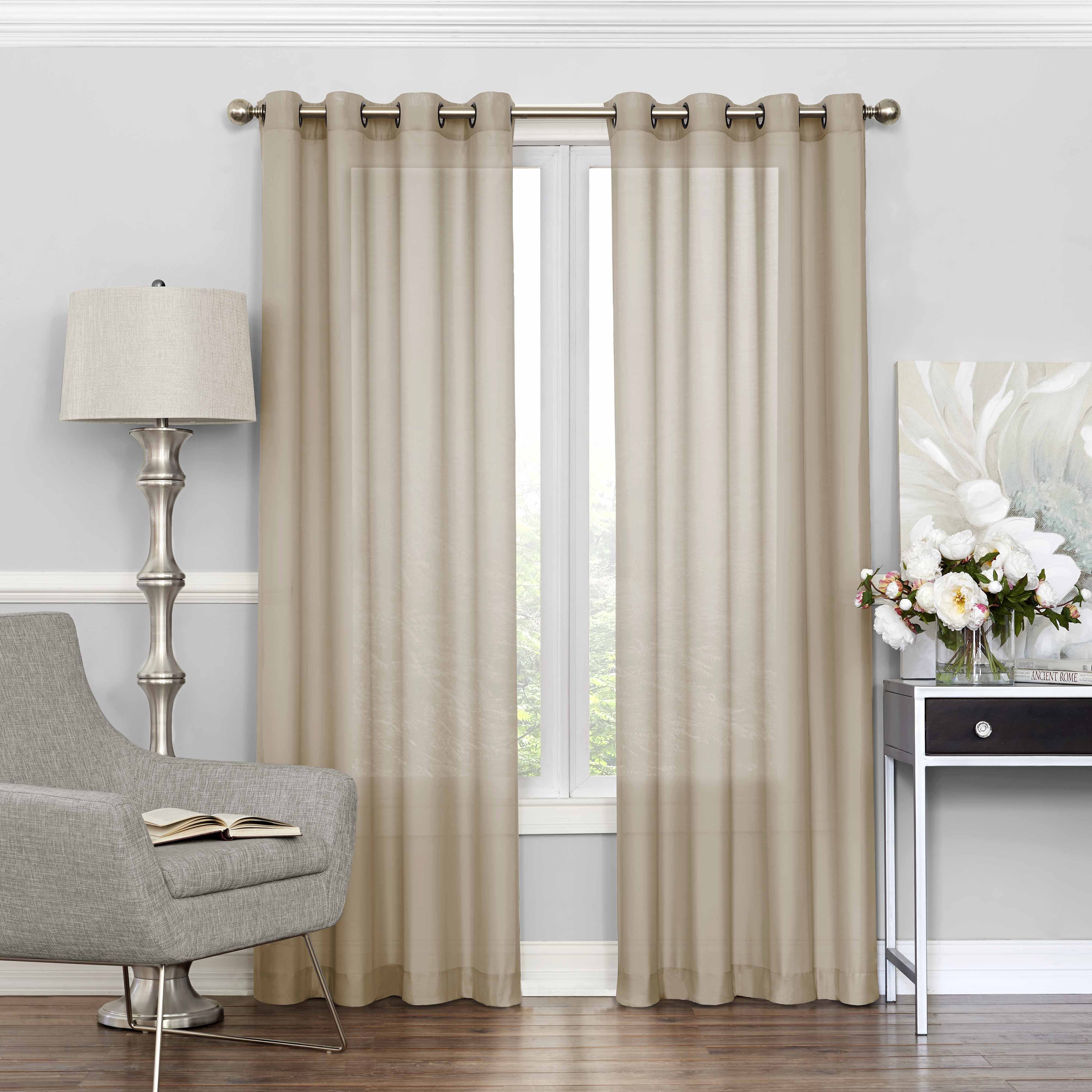 Style Selections Cecelia 84-in Ivory Polyester Rod Pocket Sheer Single  Curtain Panel