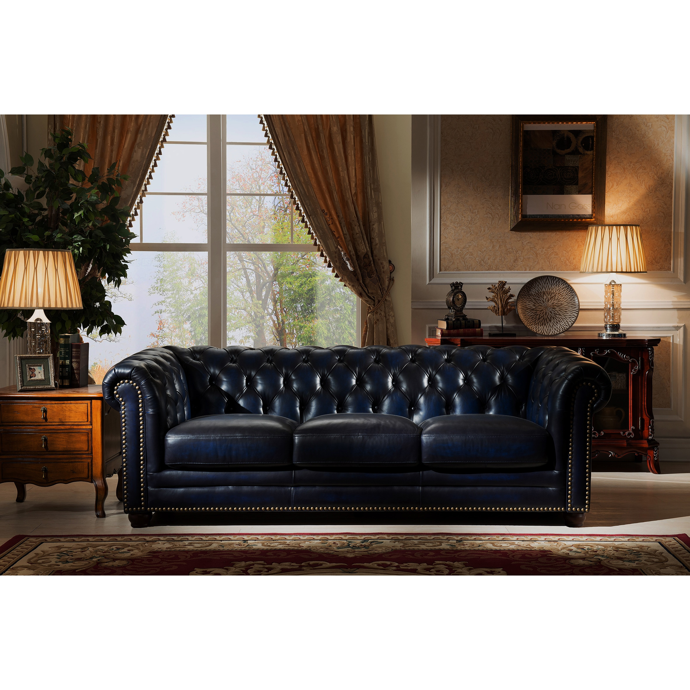 Nebraska Navy Blue Genuine Hand Rubbed Leather Chesterfield Sofa And Loveseat Set