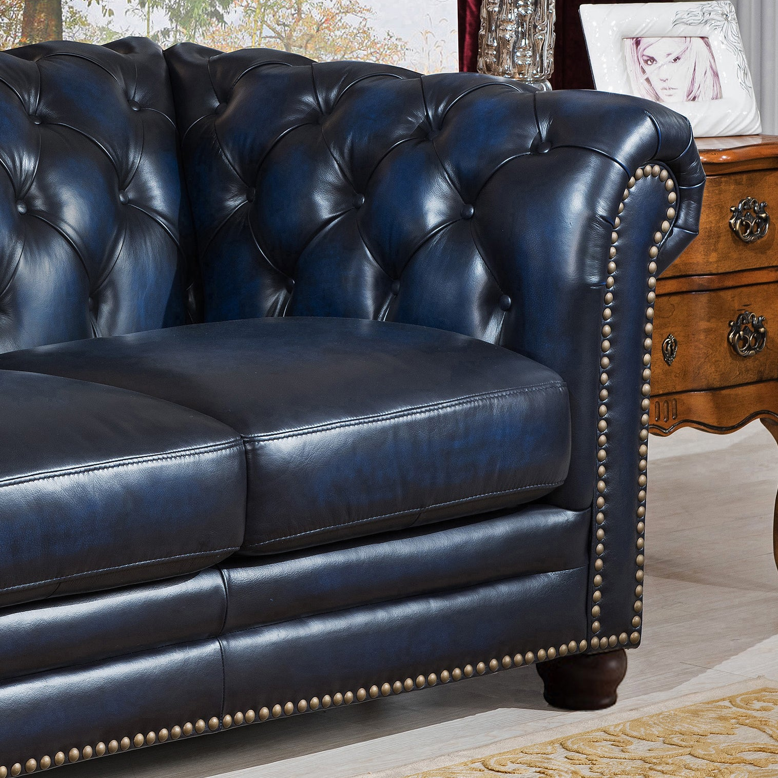 Shop blue hand rubbed genuine leather chesterfield sofa loveseat and chair set on sale free shipping today overstock com 12271170