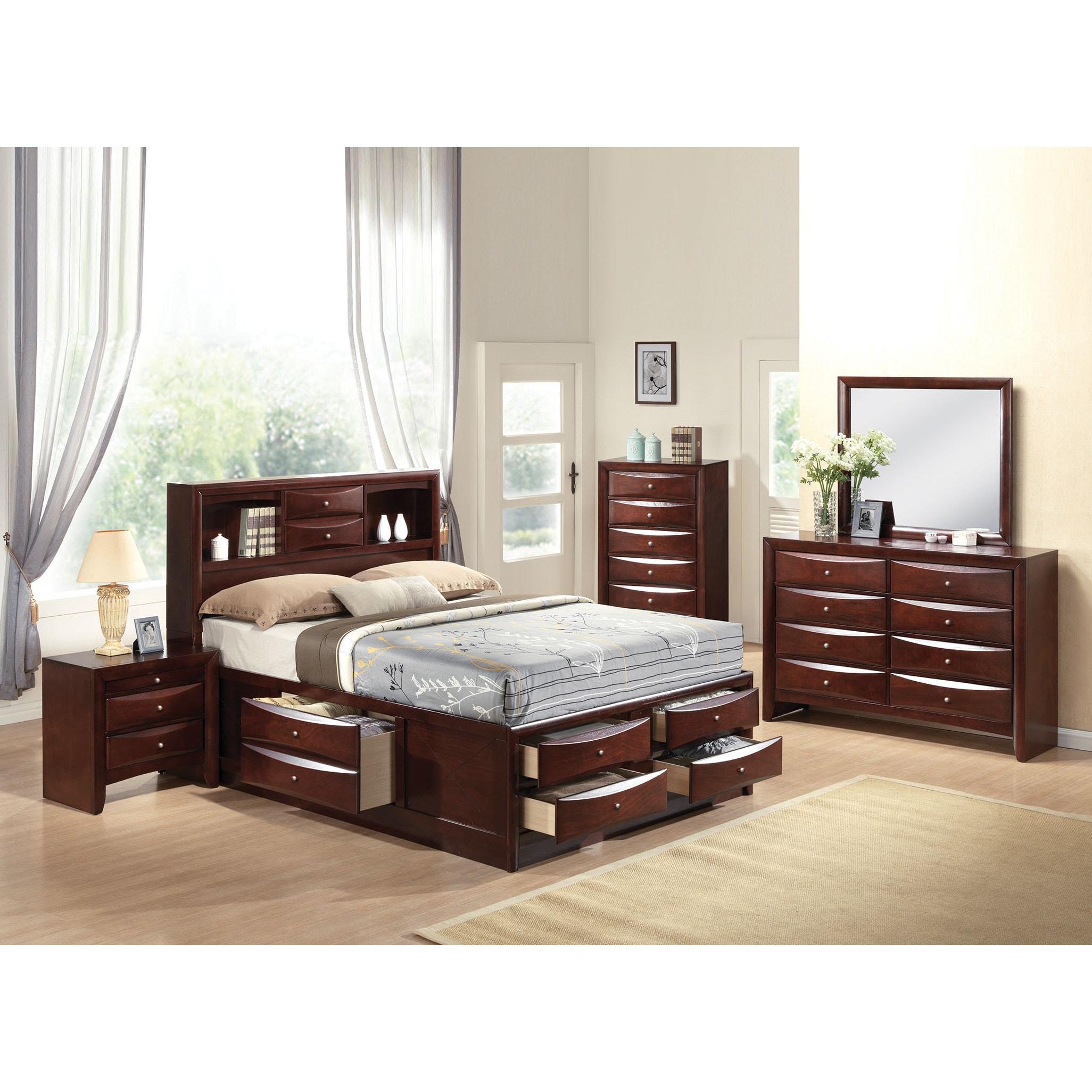 Shop ireland espresso 4 piece storage bedroom set free shipping today overstock com 12271241