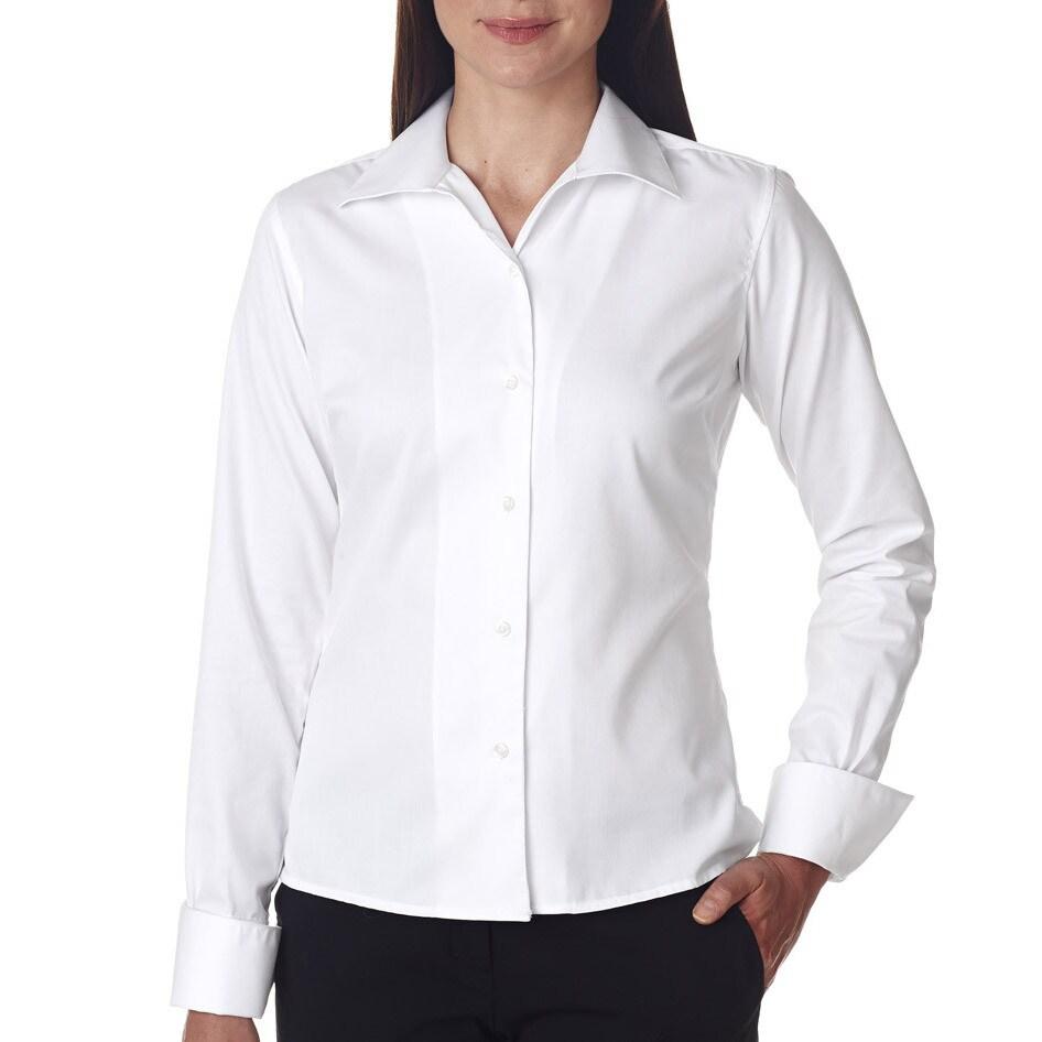 Shop Whisper Womens White Elite Twill Dress Shirt Free Shipping
