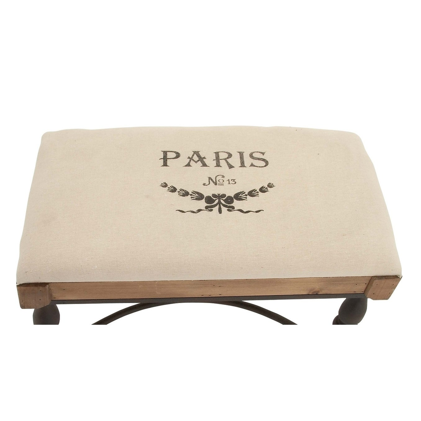 Shop Traditional 21 X 25 Inch Wood And Fabric Cushioned Stool By
