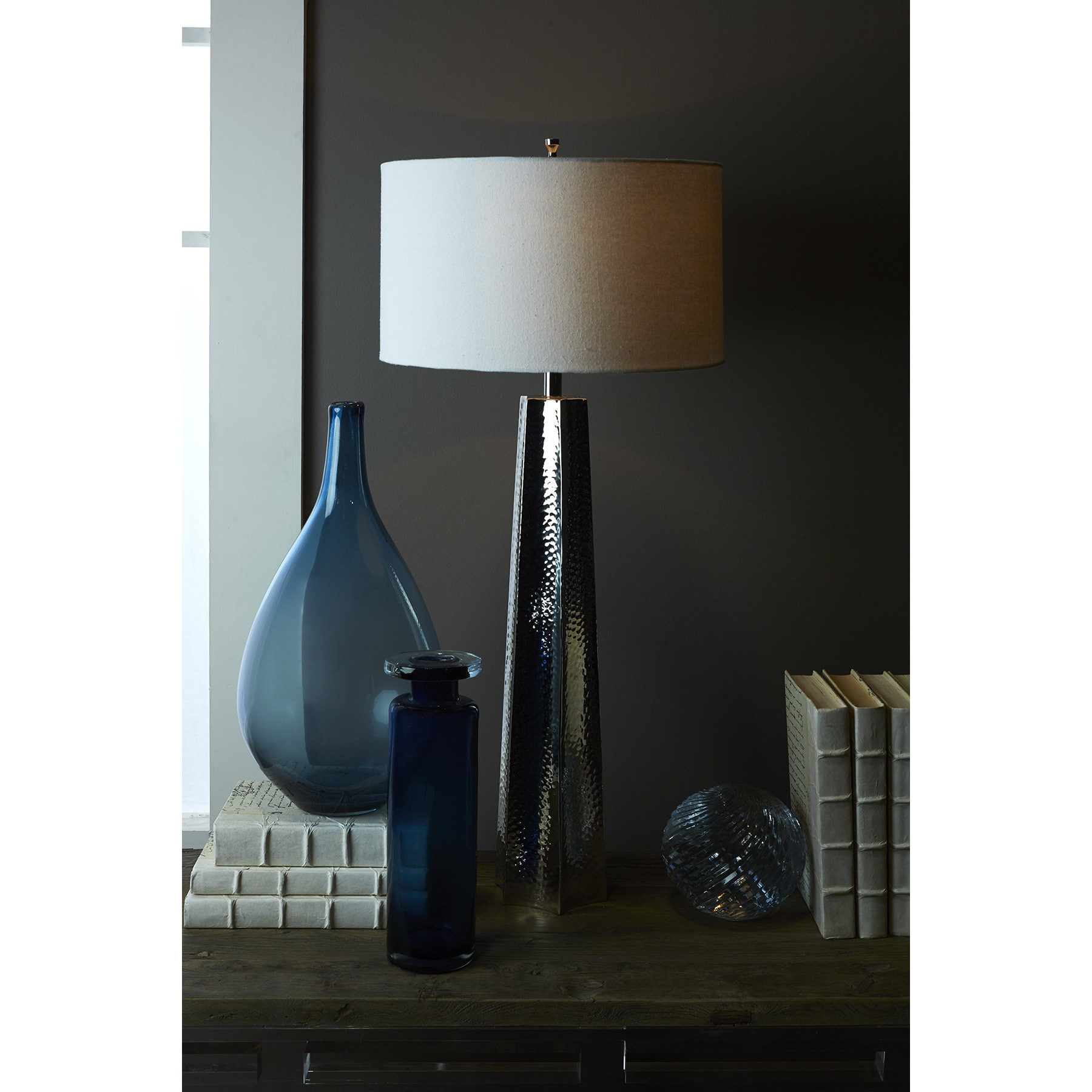 Shop Hammered Nickel Table Lamp Free Shipping Today Overstock