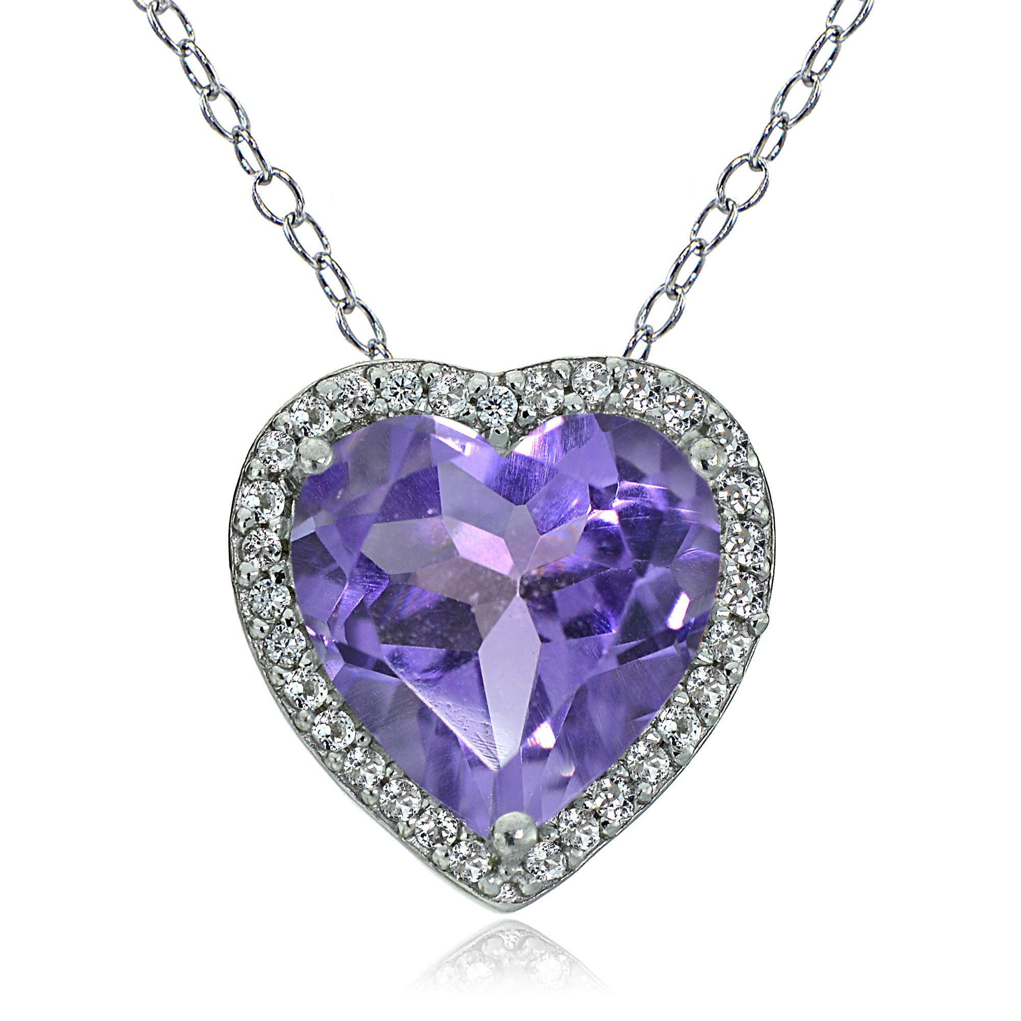 heart w shape diamond tone and two pendant chain necklace products purple gold amethyst