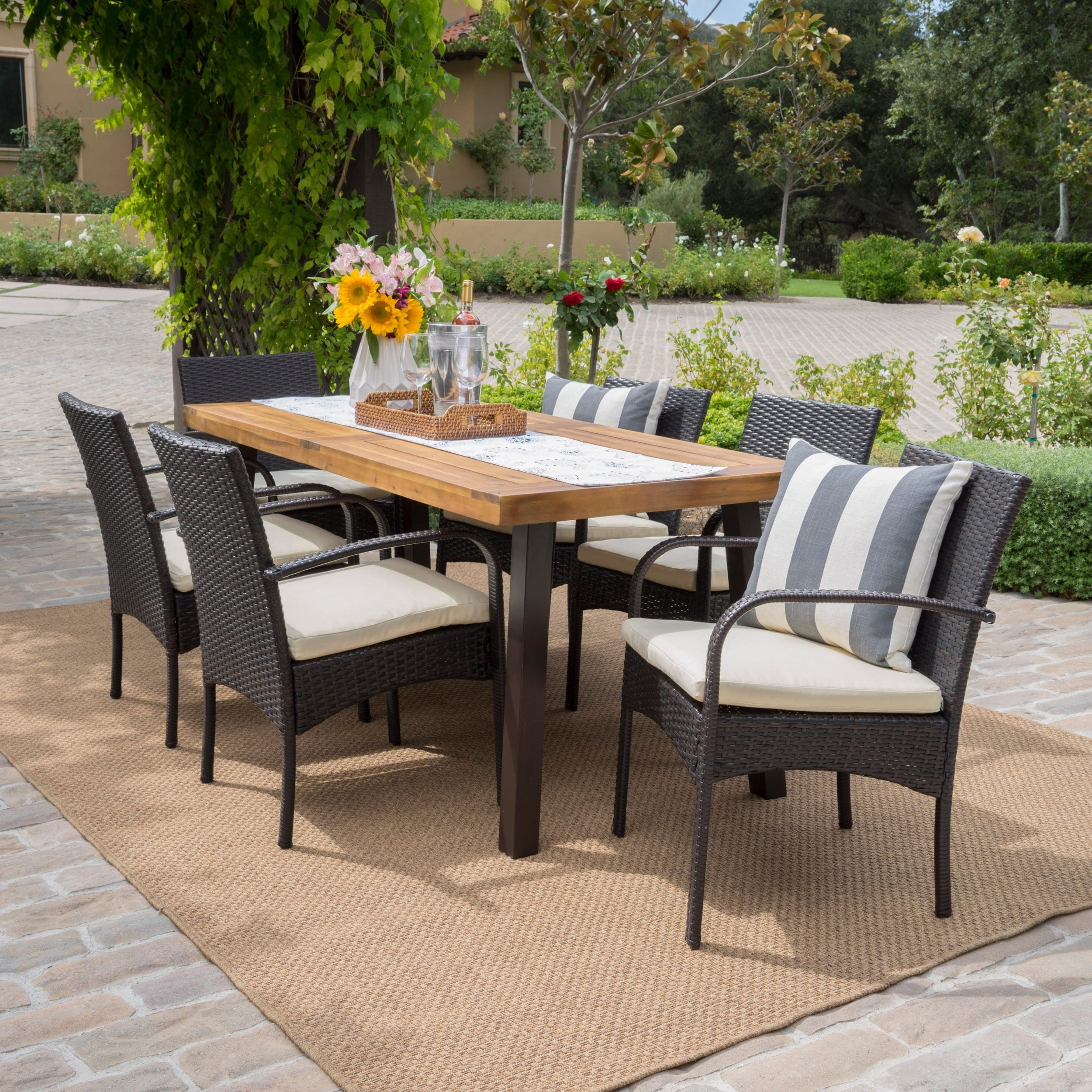 Bavaro Outdoor 7 Piece Rectangle Dining Set With Cushions By Christopher Knight Home On Free Shipping Today 12298587
