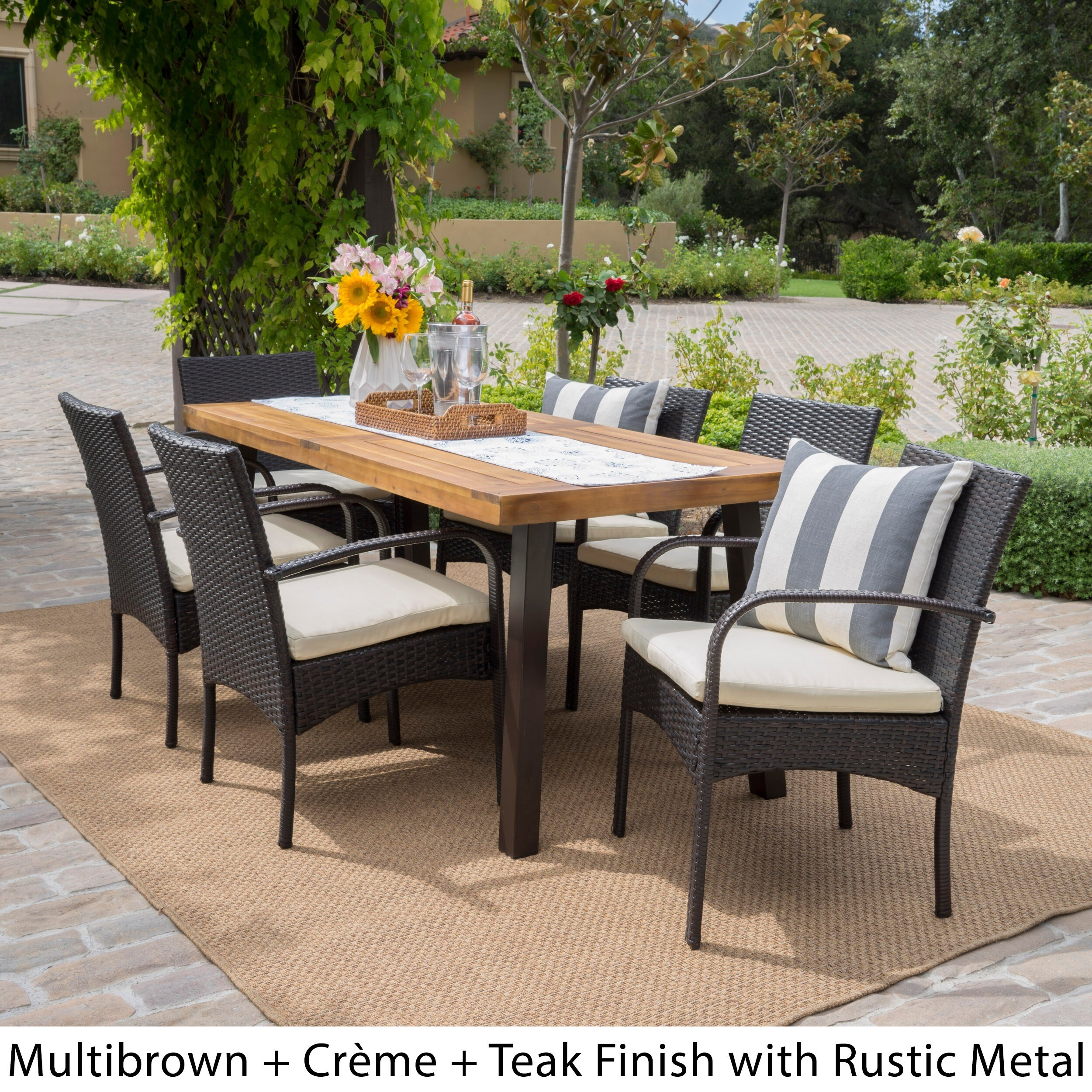 Bavaro Outdoor 7 piece Rectangle Dining Set with Cushions by