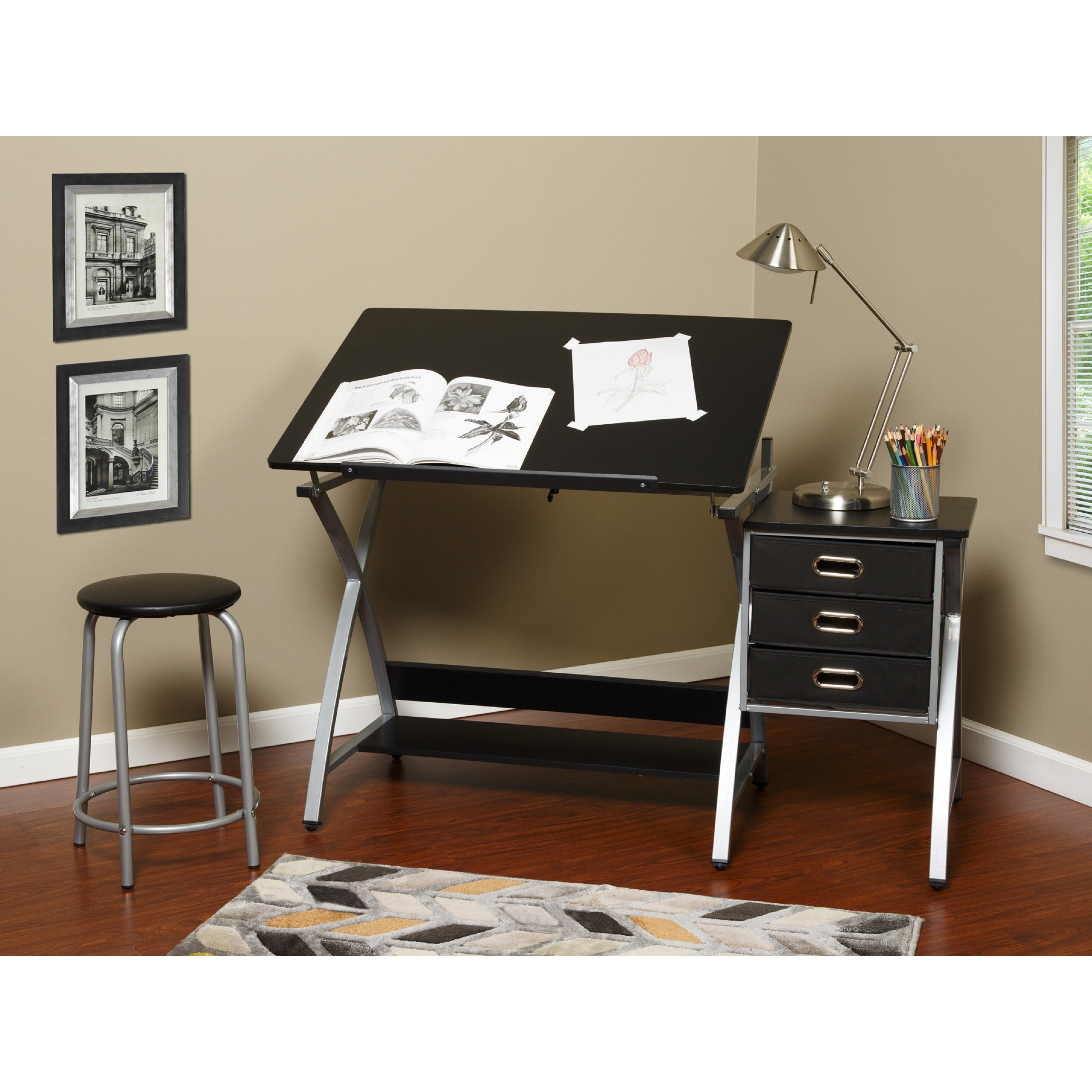 Shop OneSpace 50 CS03 Black And Silver Drafting Craft Hobby Table With  Stool   Free Shipping Today   Overstock.com   12298607