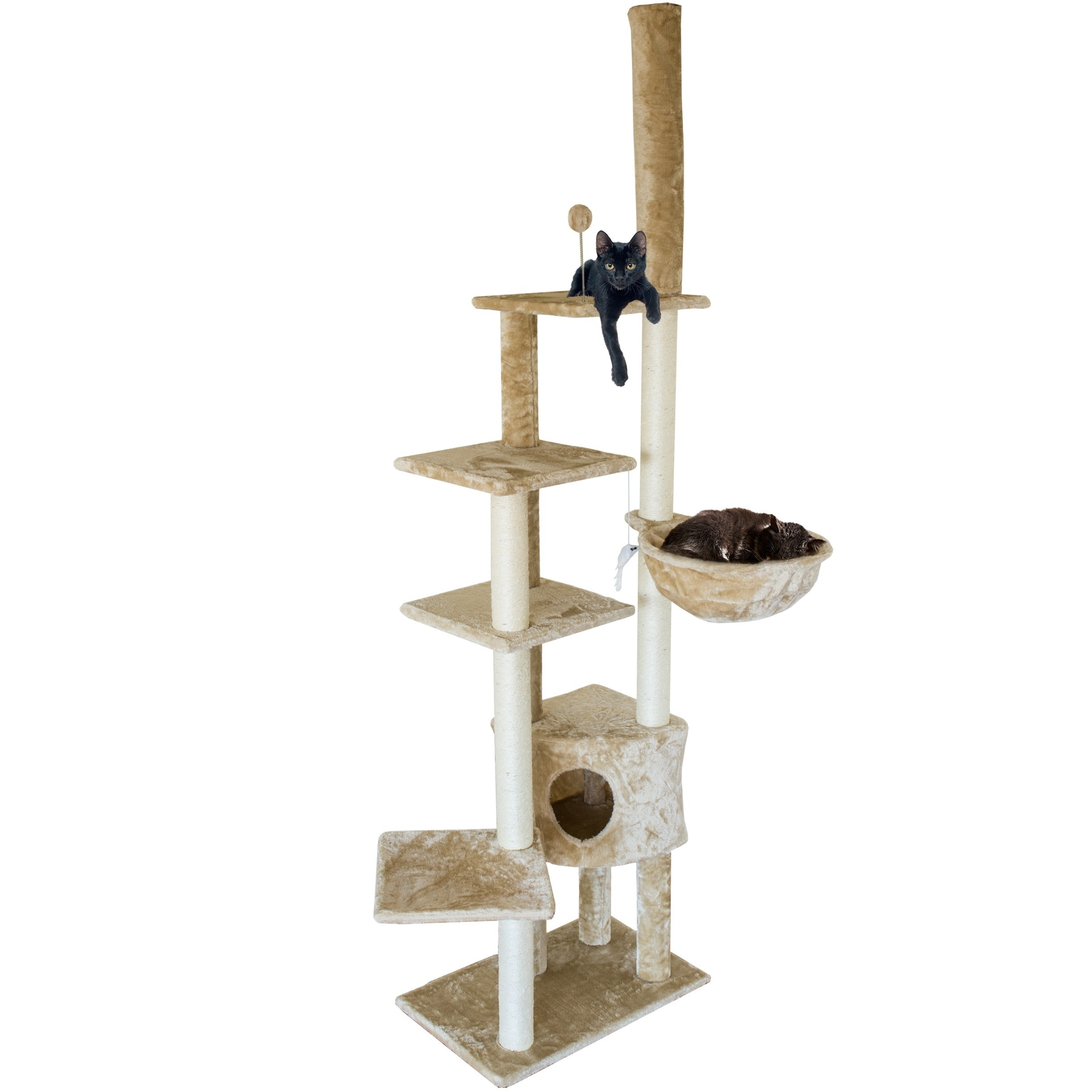 furhaven skyscraper cat tower cat tree house with hammock   free shipping today   overstock     19134760 furhaven skyscraper cat tower cat tree house with hammock   free      rh   overstock