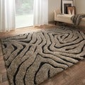 Jullian Smoke/ Black Abstract Shag Rug (3'10 X 5'7)