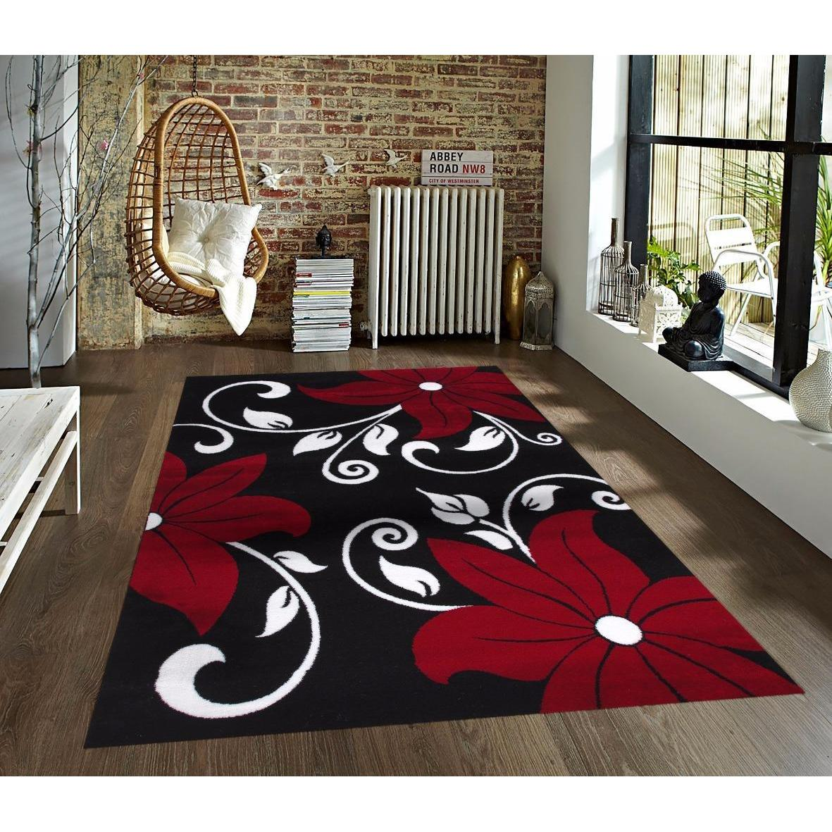 Shop Persian Rugs Modern Floral Black White Red Area Rug 7 10 X